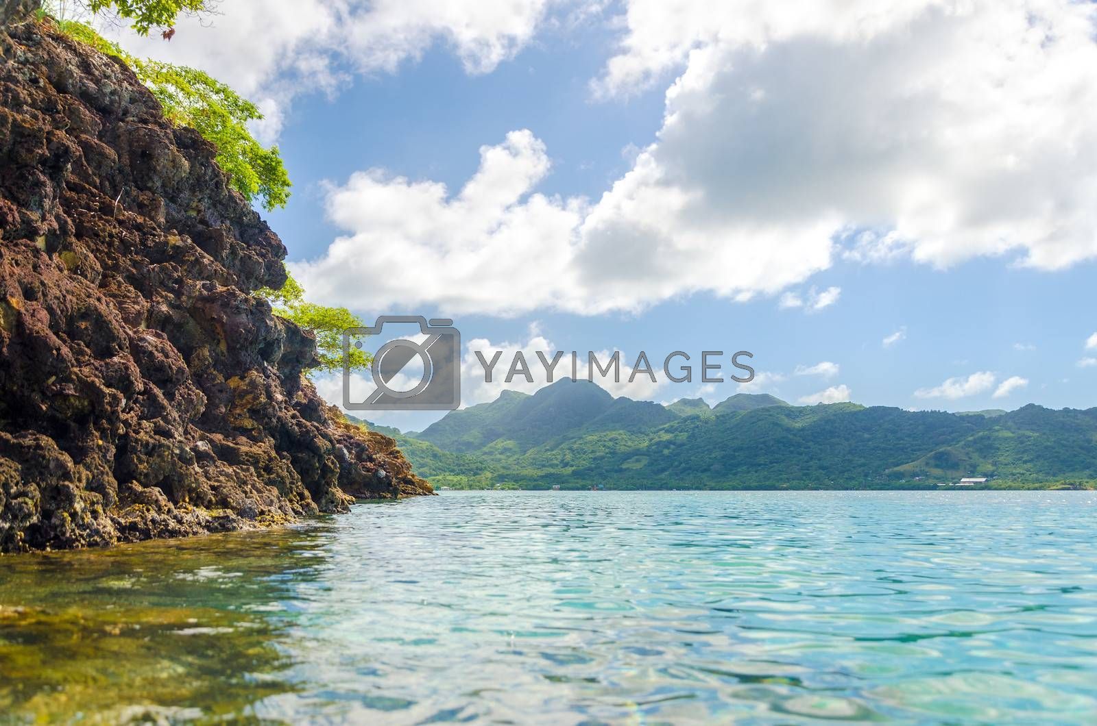 View of a lush green tropical island in the Caribbean Sea in San Andres y Providencia, Colombia