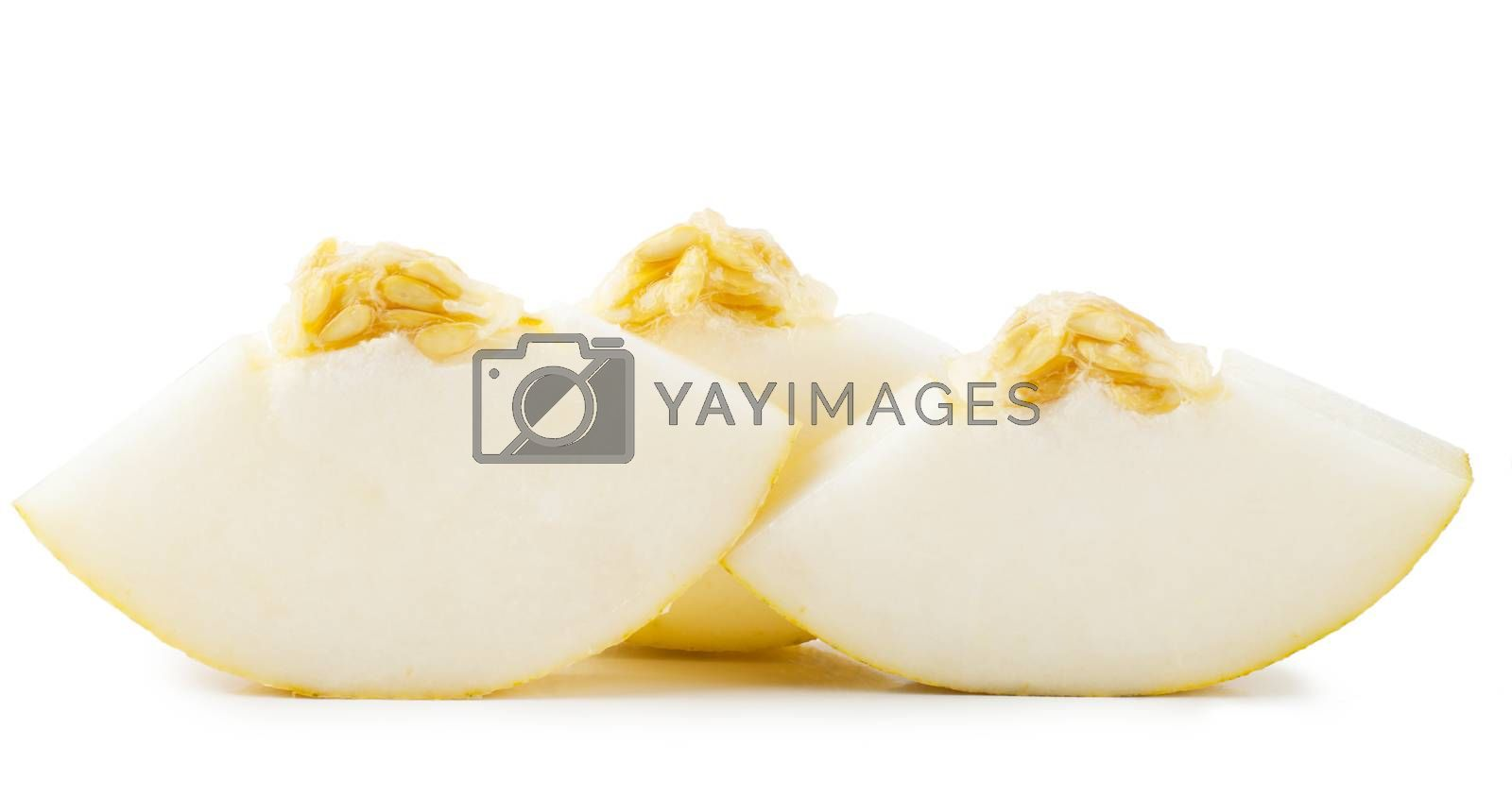 Pieces of juicy melon over white background