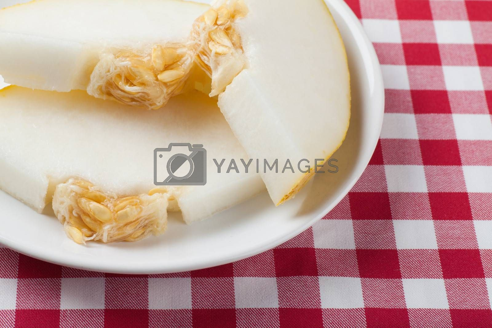 Pieces of juicy melon on a plate