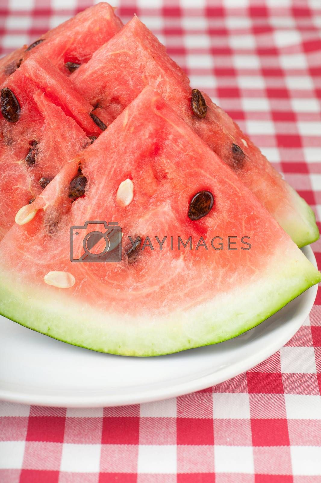 Fresh watermelon slices on a white plate