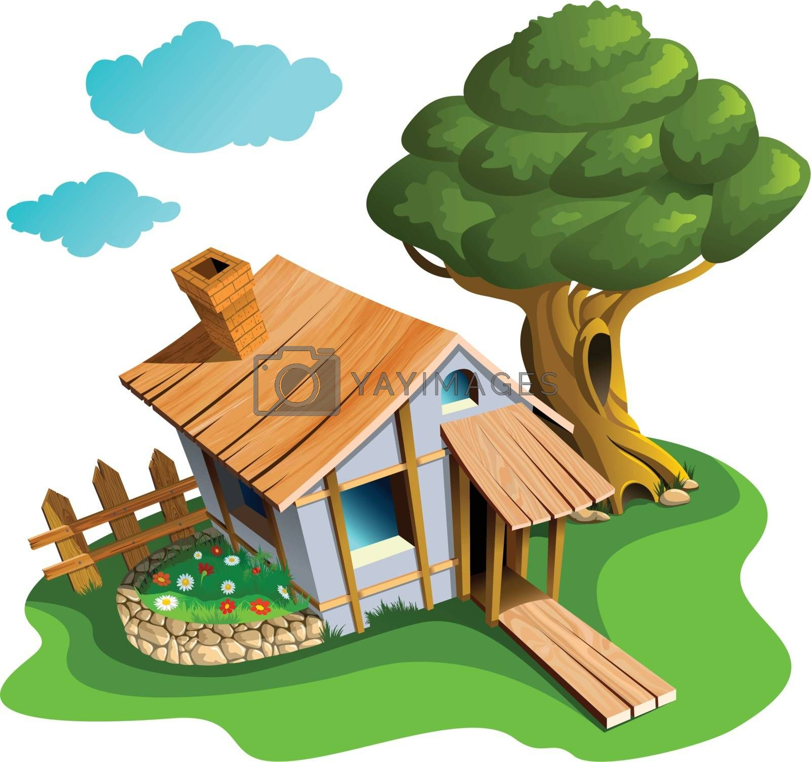 Small village house with flower bed and big tree, vector illustration