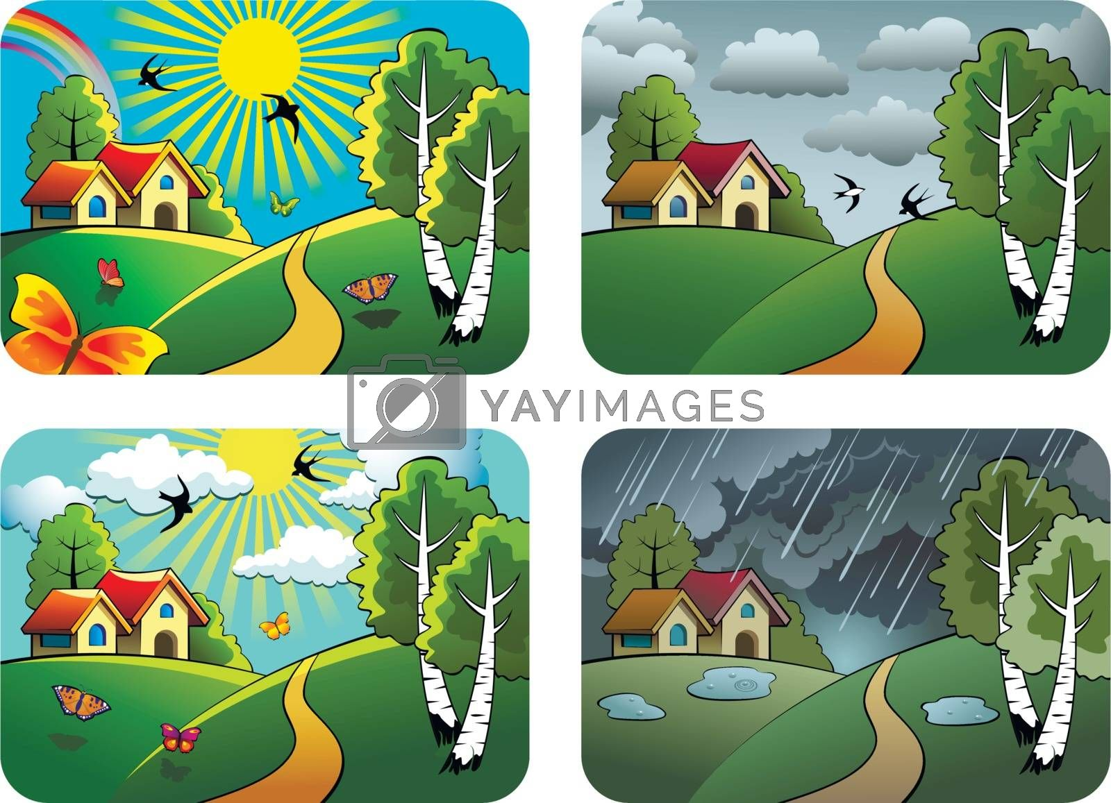 Set of different weather landscapes: sunny, cloudy, overcast and rainy, vector illustration