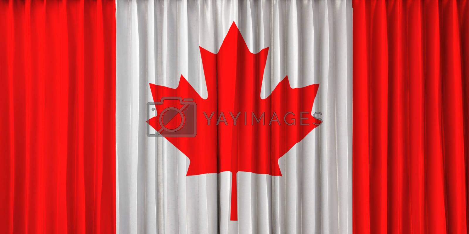 Canada flag on curtain