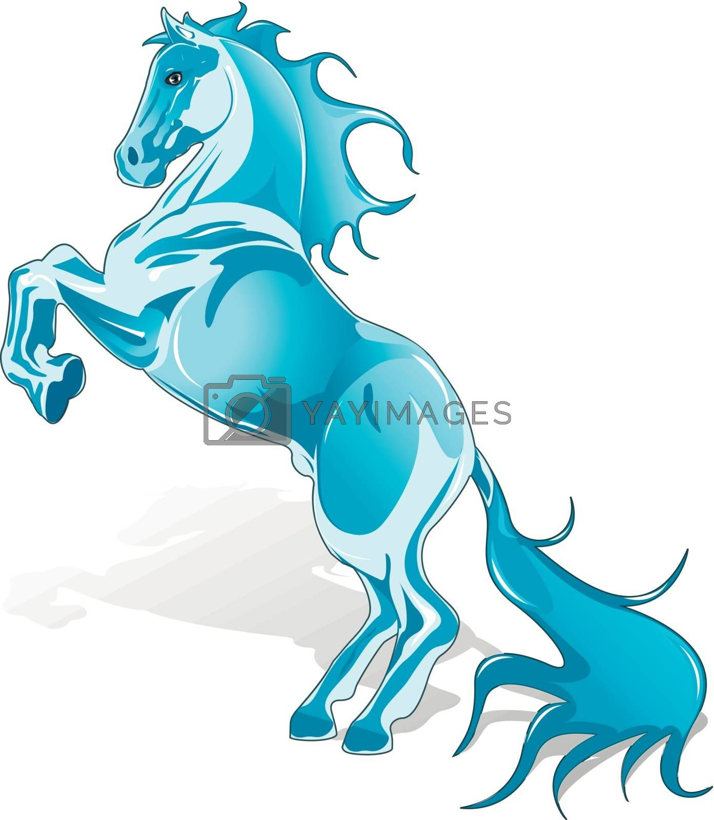 abstract illustration, blue horse on white background