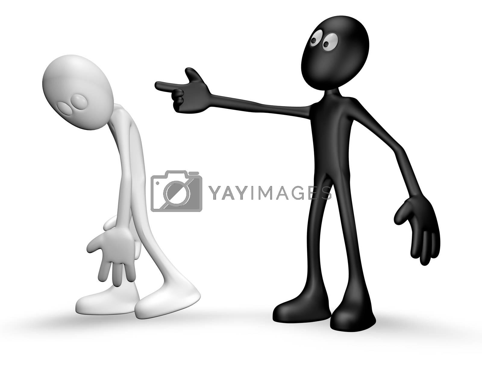 cartoon guy getting fired - 3d illustration
