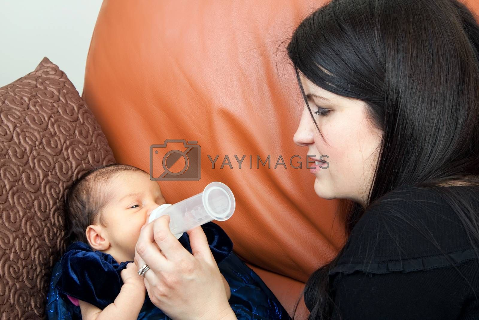 Mother feeds her newborn infant feeds on a bottle of baby formula.