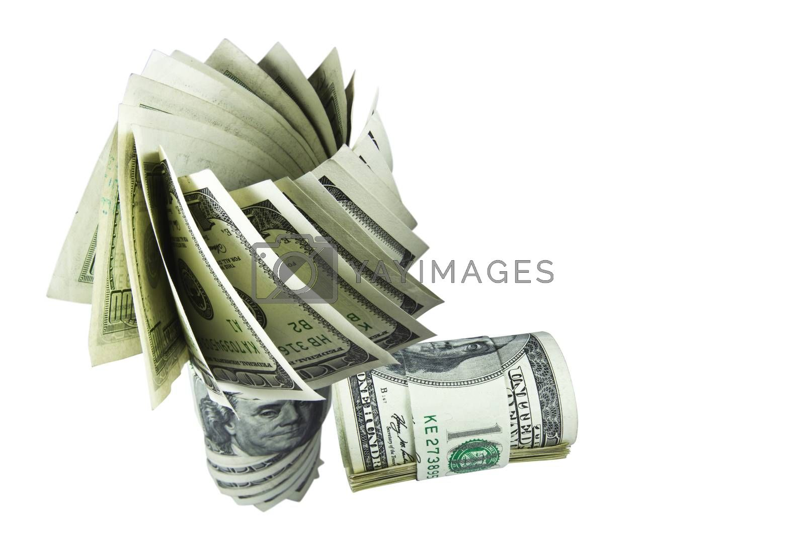 The money hundred dollar bills of American with white background