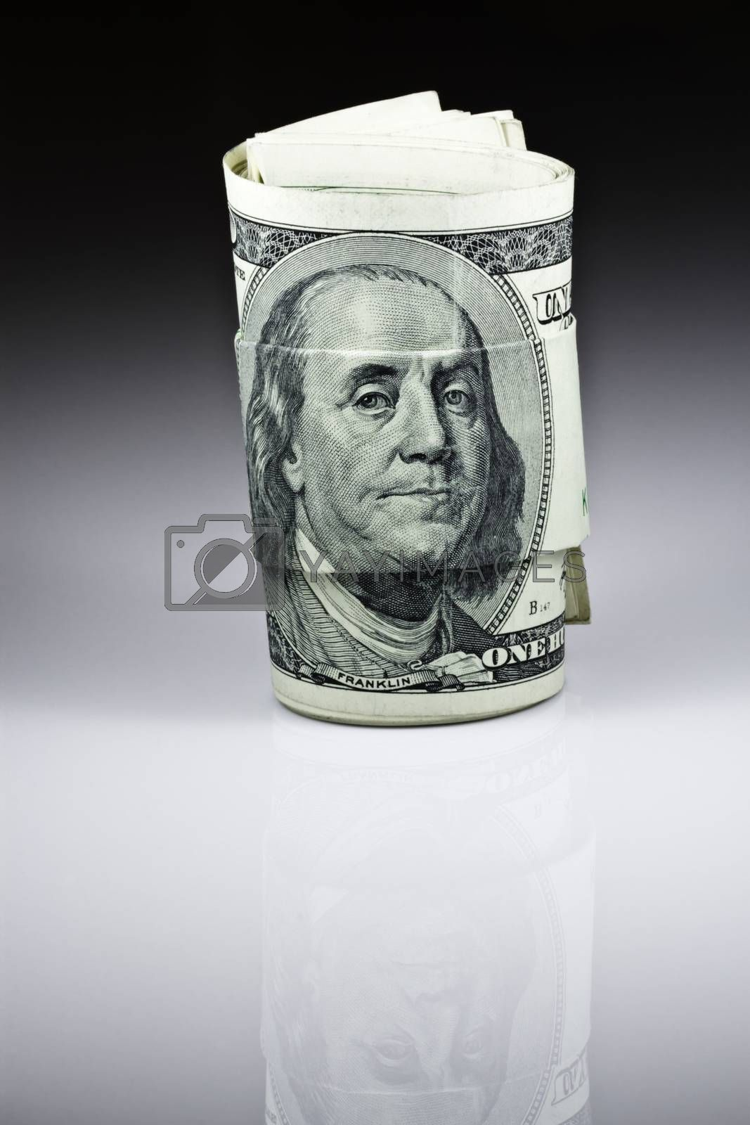 The money hundred dollar bills of American with black and white gradient background