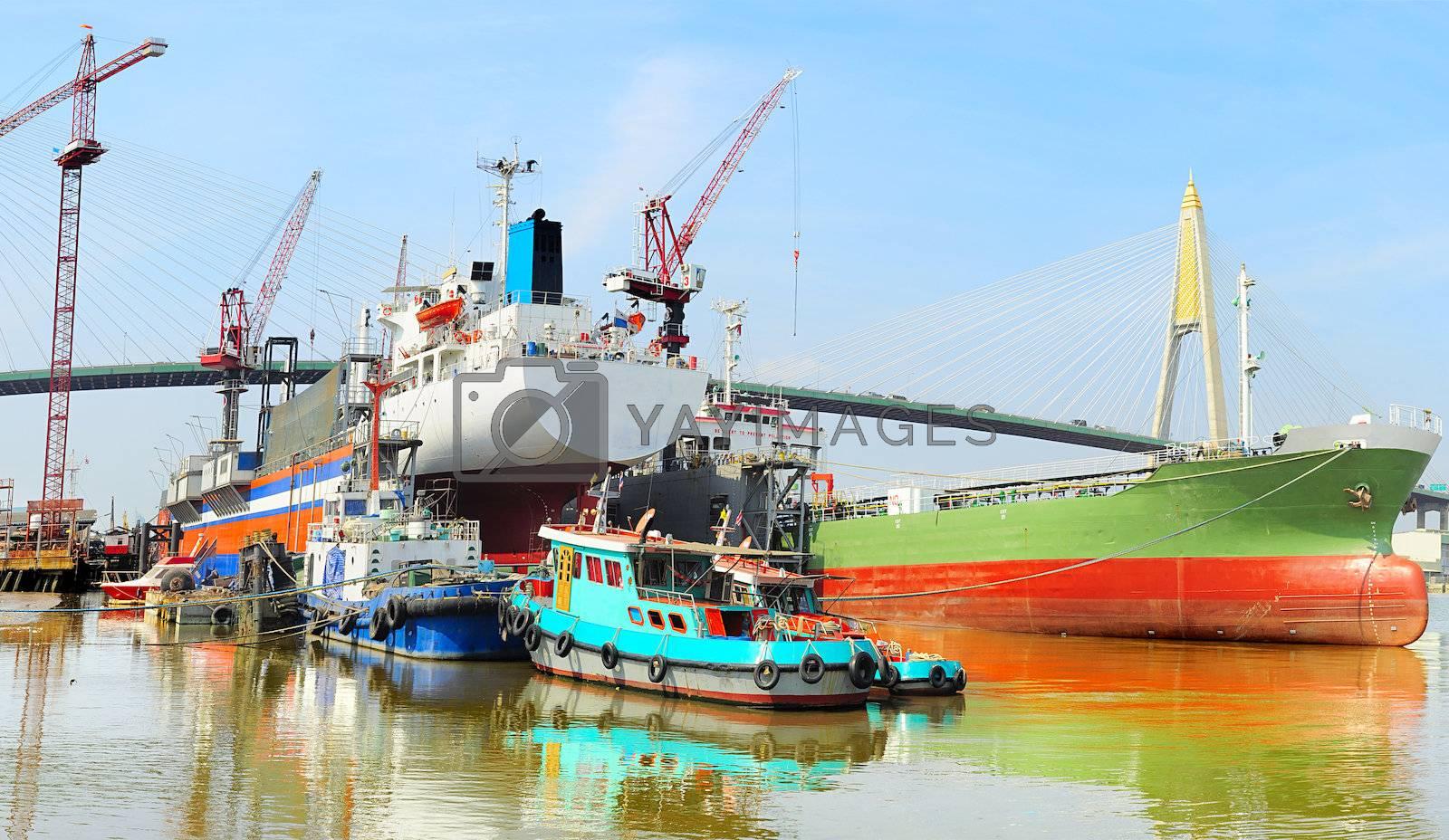 Shipyard in Bangkok on Chao Phraya river, Thailand