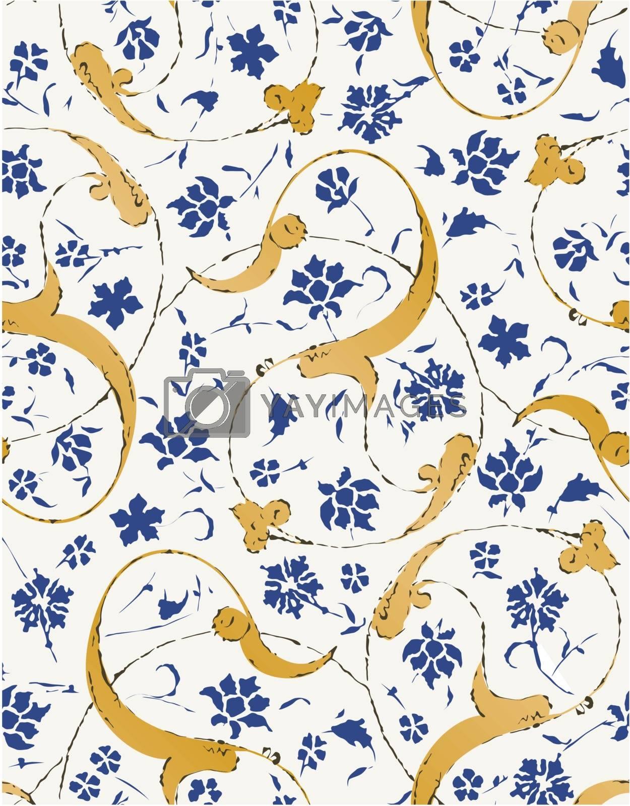 seamless islamic scroll floral leaf pattern