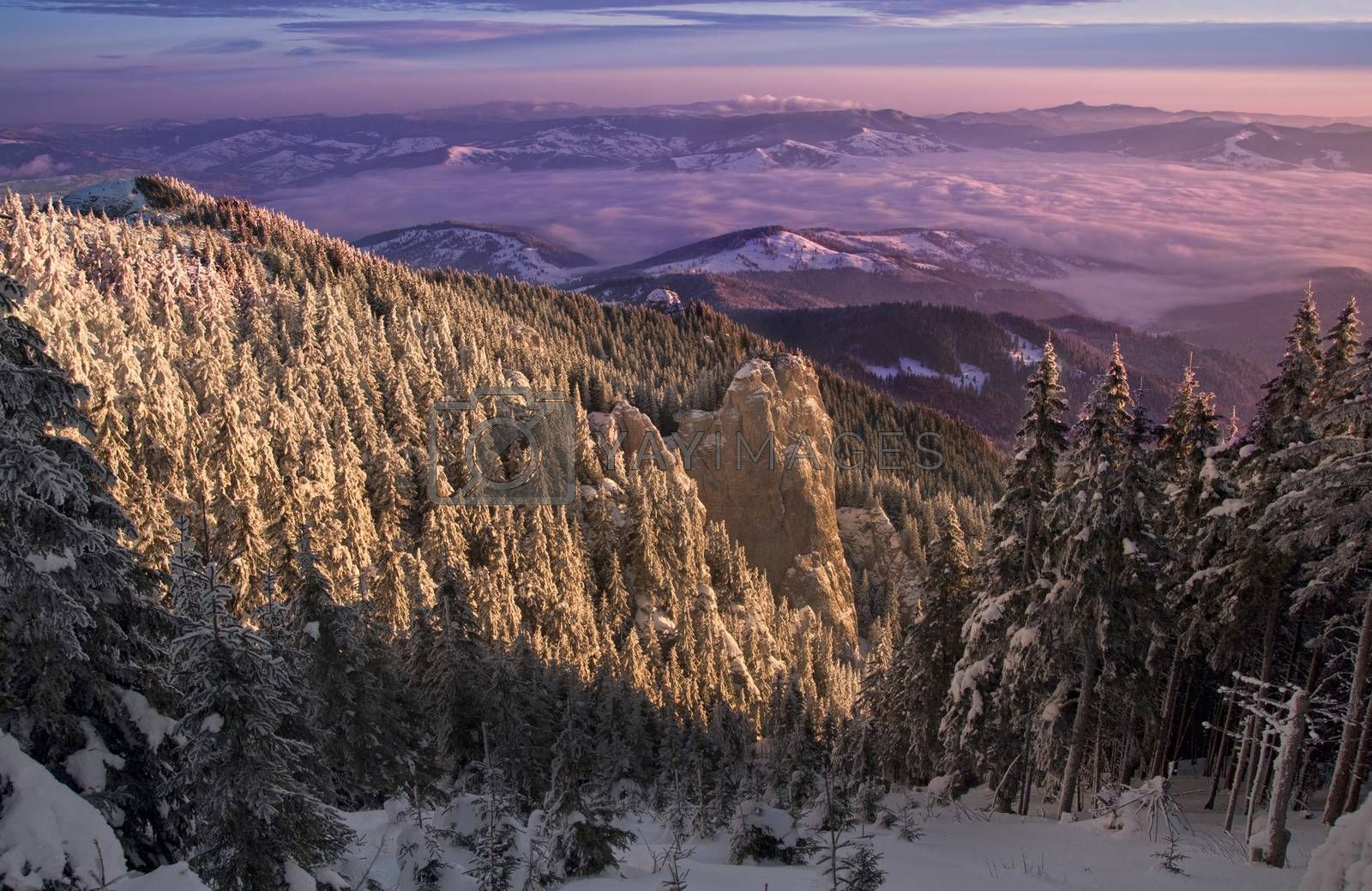 Landscape of winter mountain sunset in Romania
