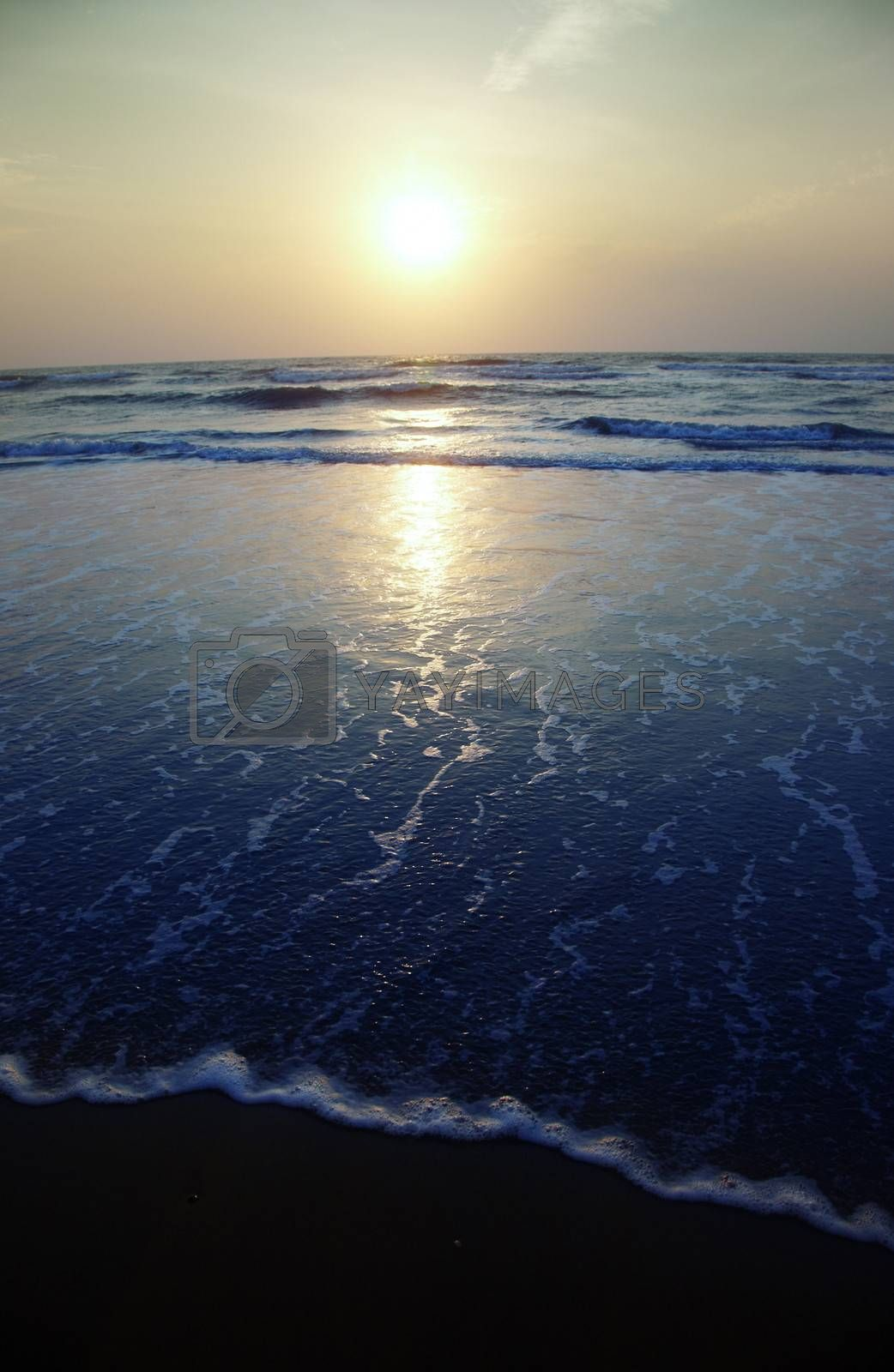 Seaside with waves during sunset. Vertical photo