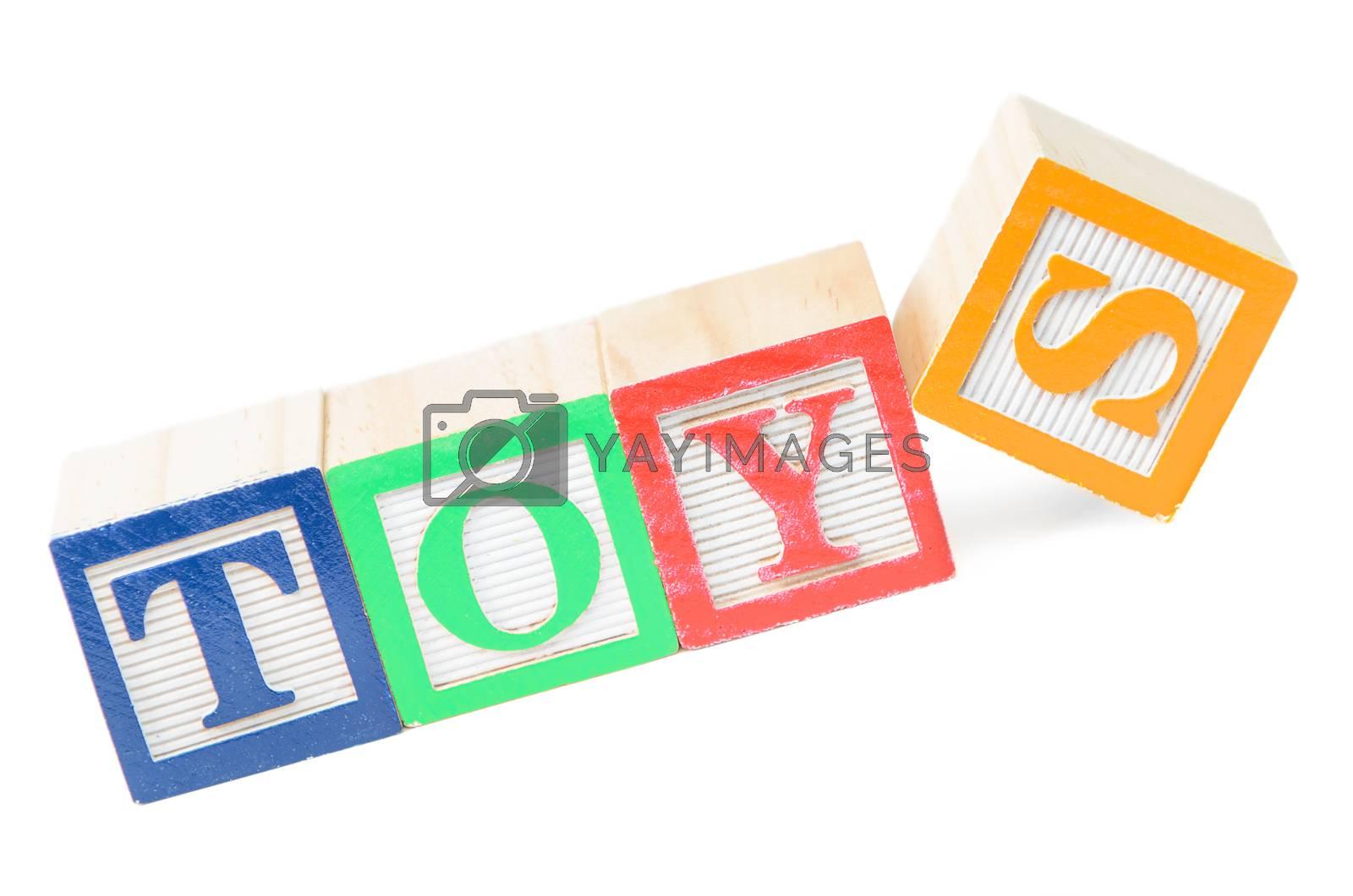 Baby blocks spelling toys. Isolated on white background