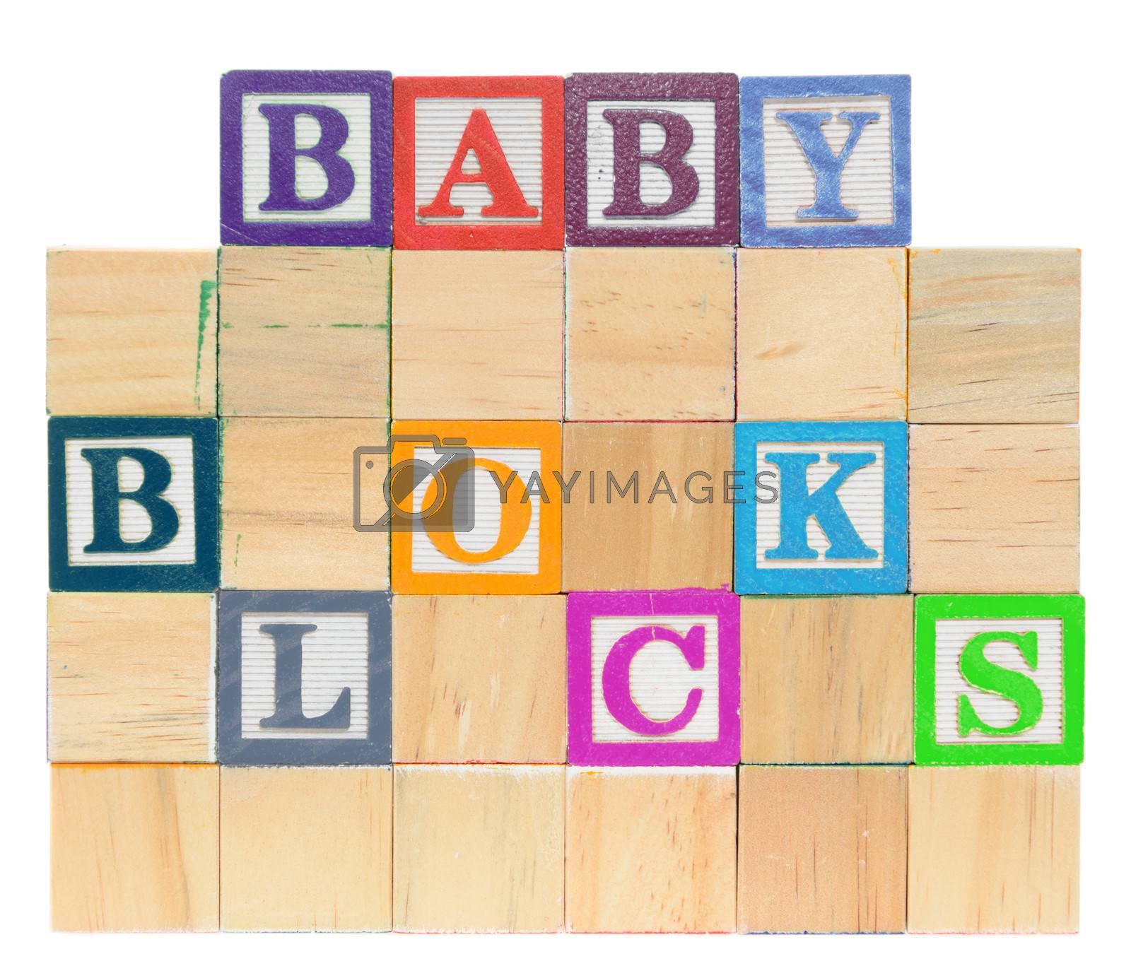 Letter blocks spelling baby blocks. Isolated on a white background.