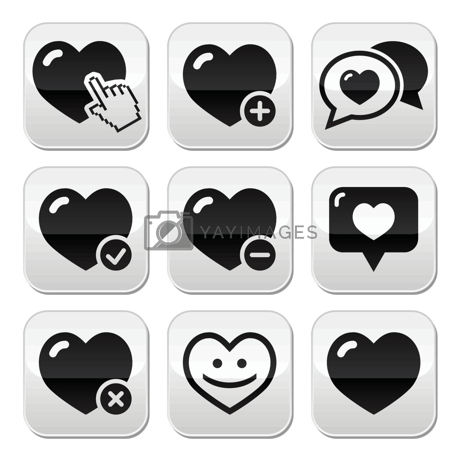 Hearts vector buttons set isolated on white - love, relationship, couples