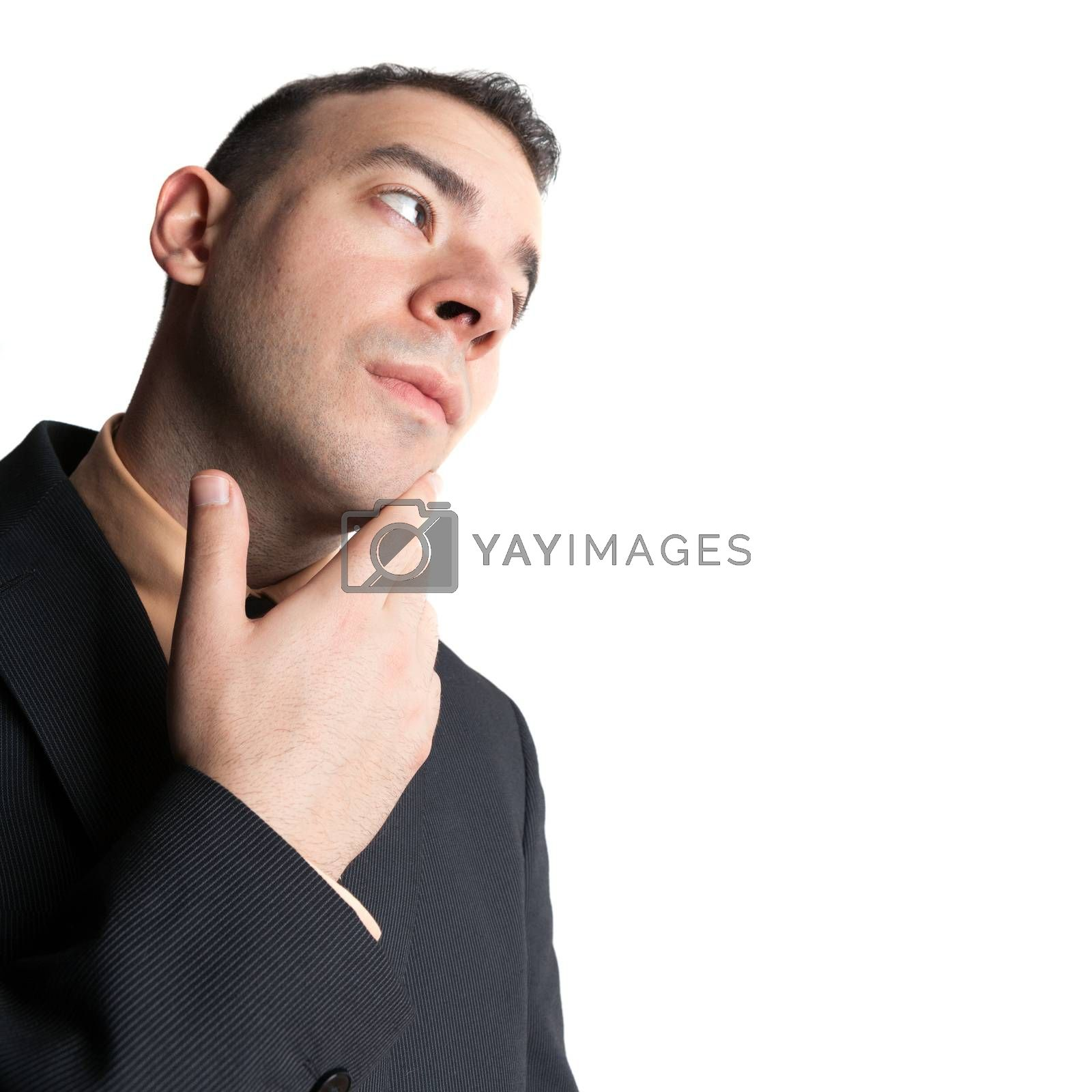 Young business man that looks worried or contemplative isolated over a white background.