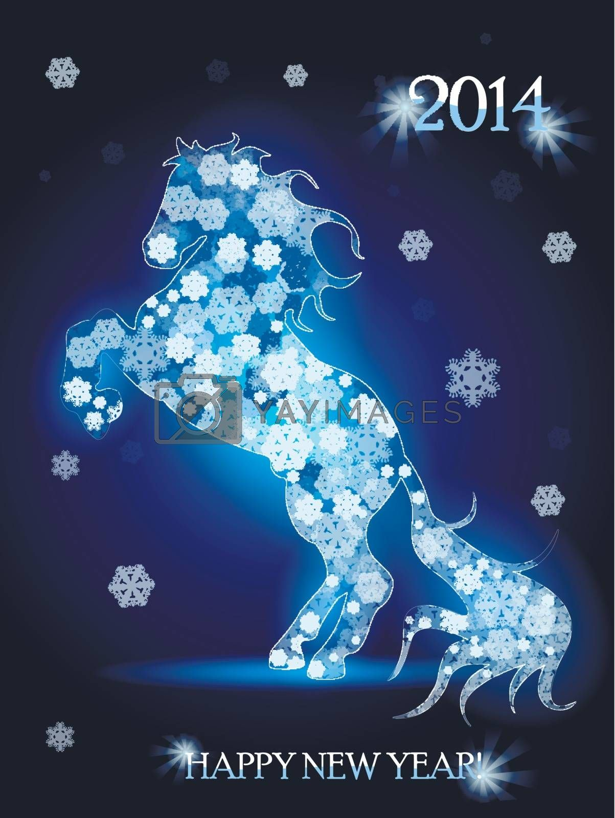 Abstract illustration, blue horse on blue background