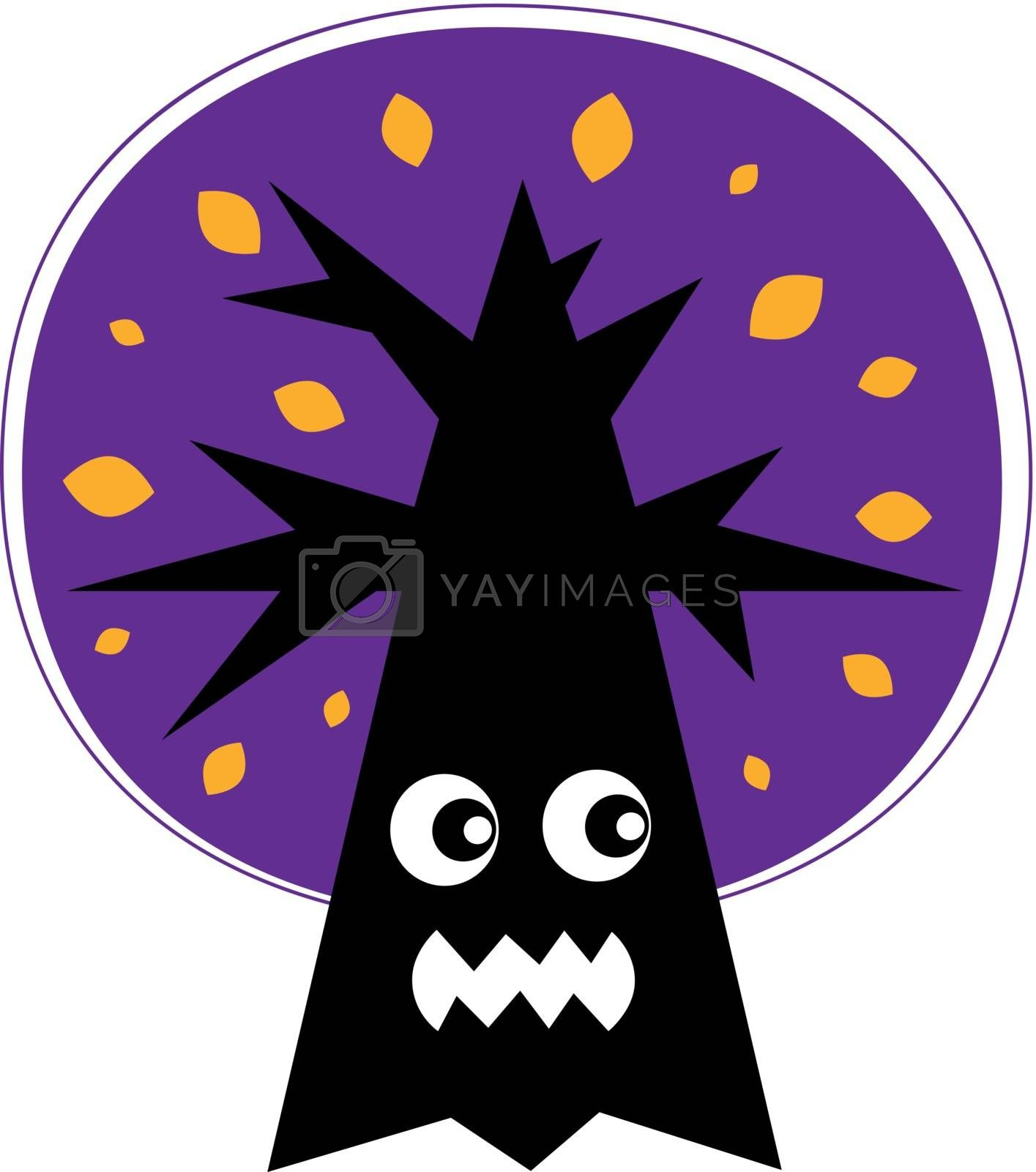 Purple Halloween Tree with angry face. Vector cartoon