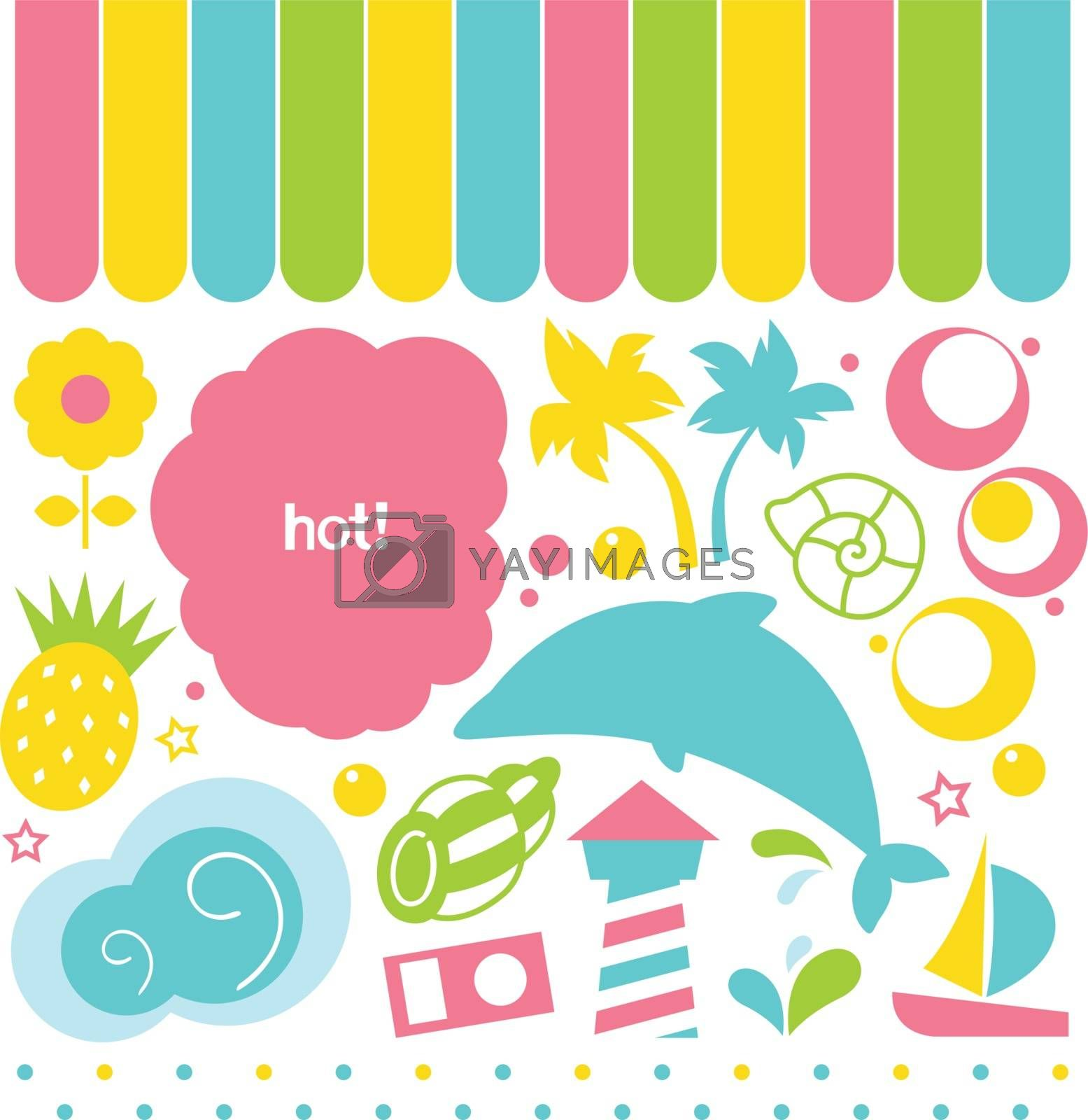 Colorful summer set in pink, yellow blue and green. Vector Illustration