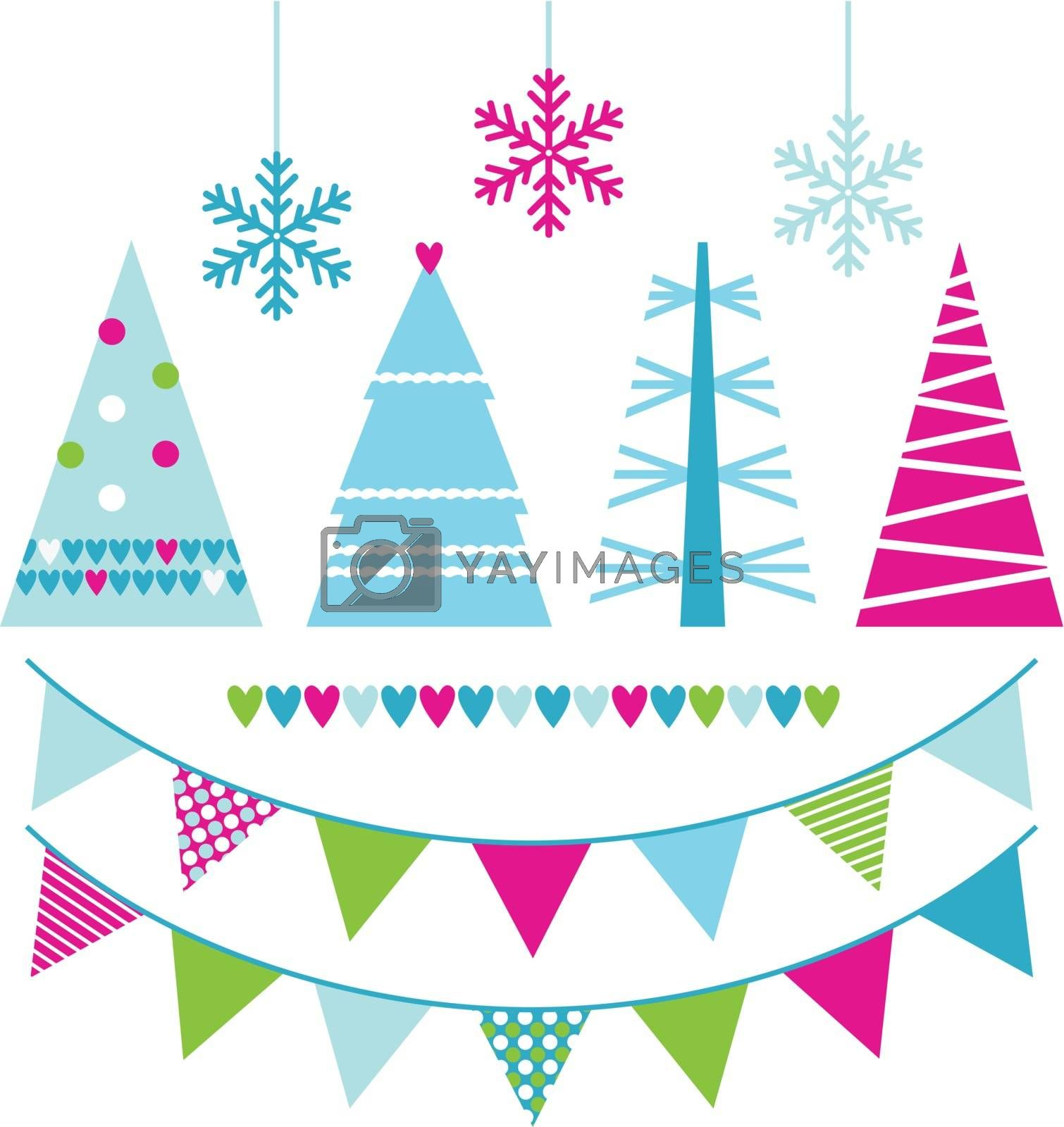 Colorful patterned Xmas trees set. Vector illustration