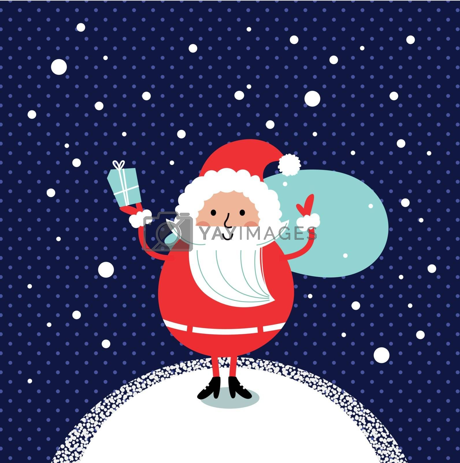 Happy Santa Illustration for christmas card. Vector