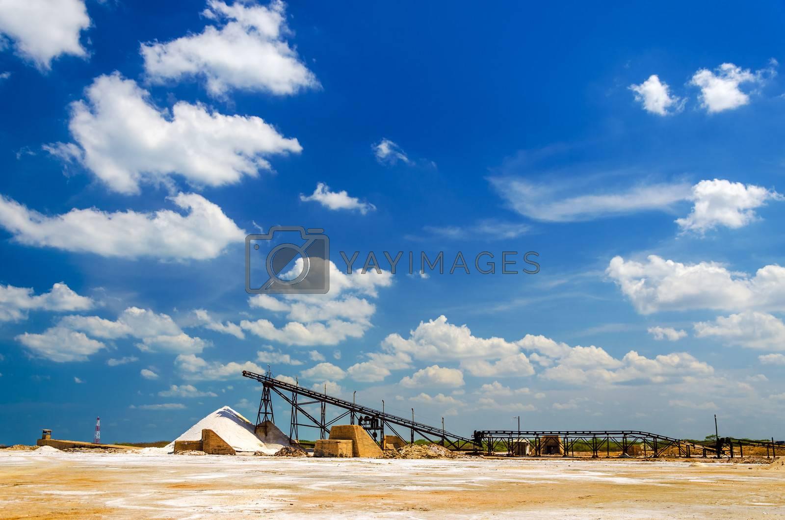 Factory for producing sea salt in Manaure in La Guajira, Colombia