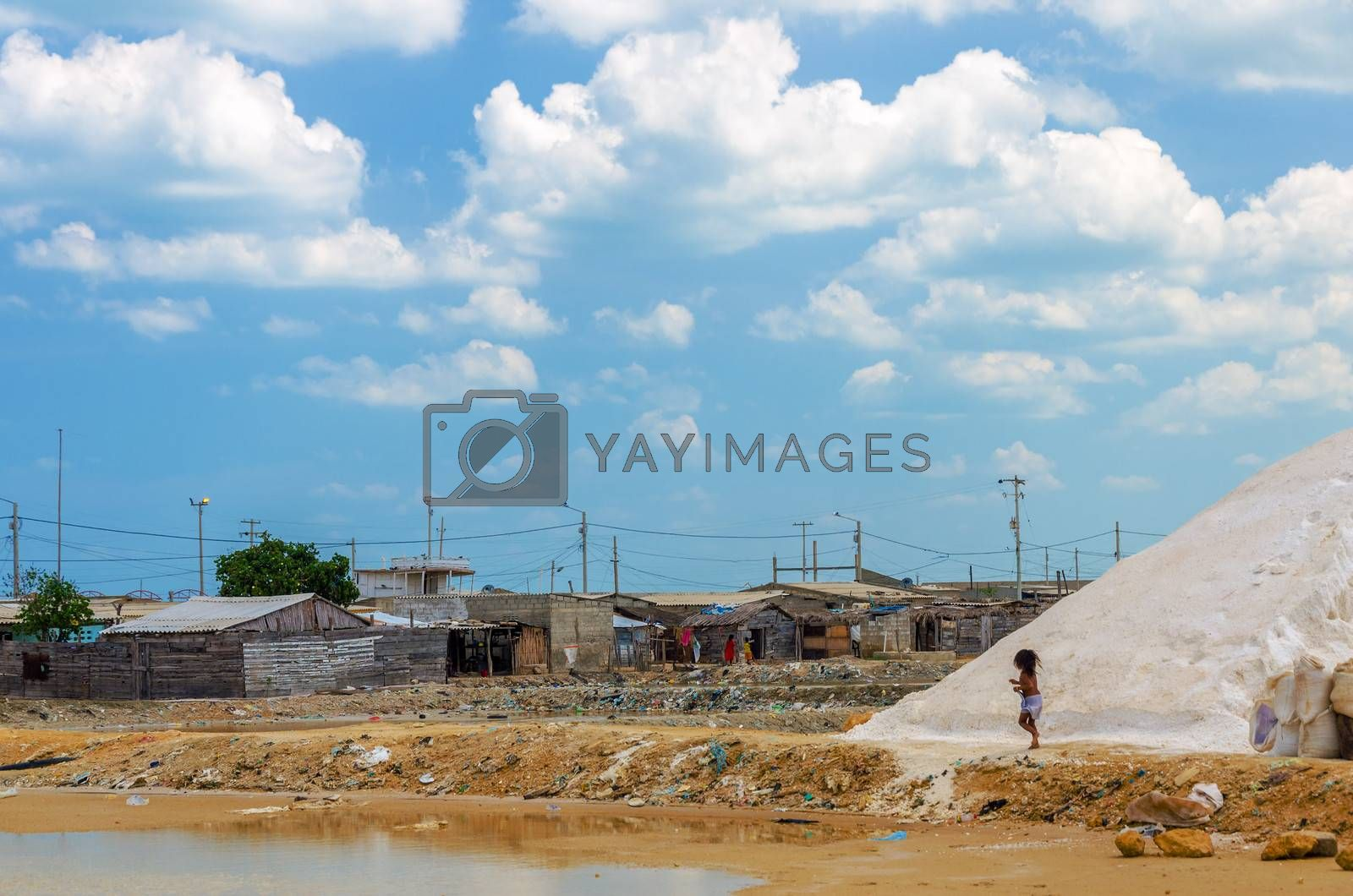 Slum in Colombia where the locals rely on small scale salt production