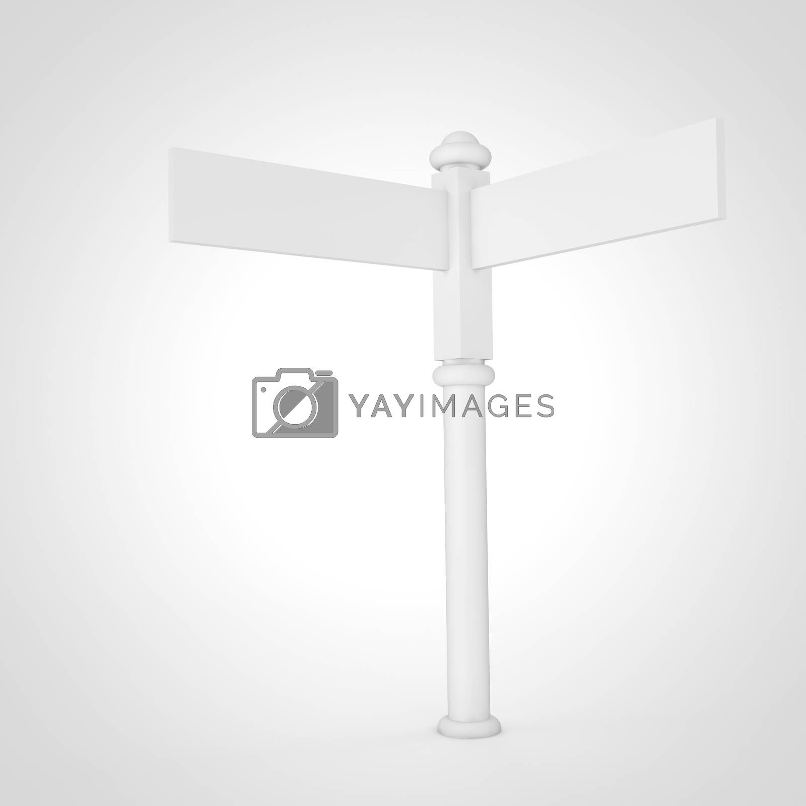 High resolution 3D render of a blank sign post in white.