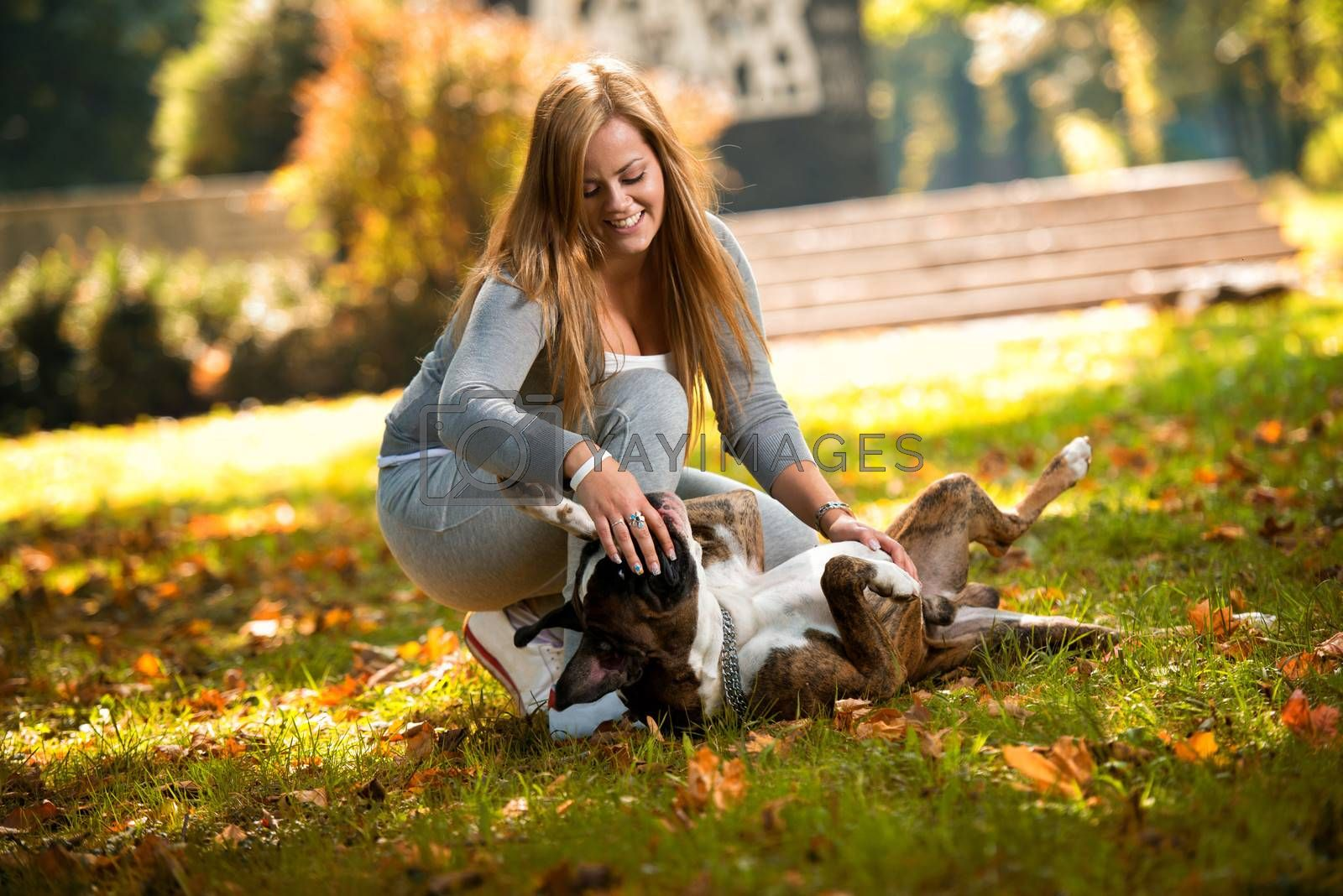 Smiling Female And Her Dog