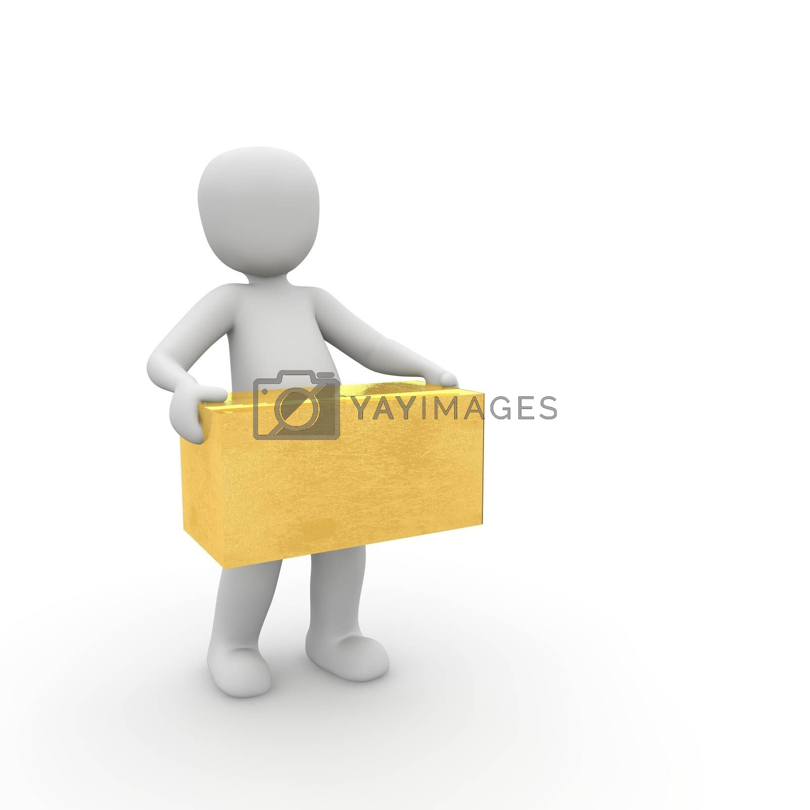 A character carries with both arms a heavy gold box.