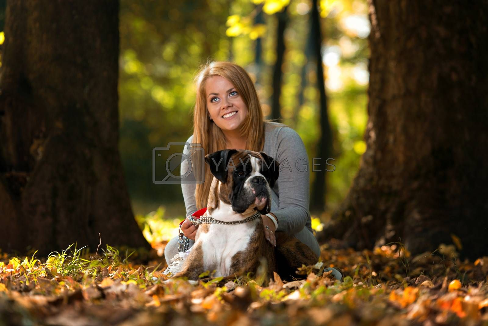 Women And Dog Outdoor