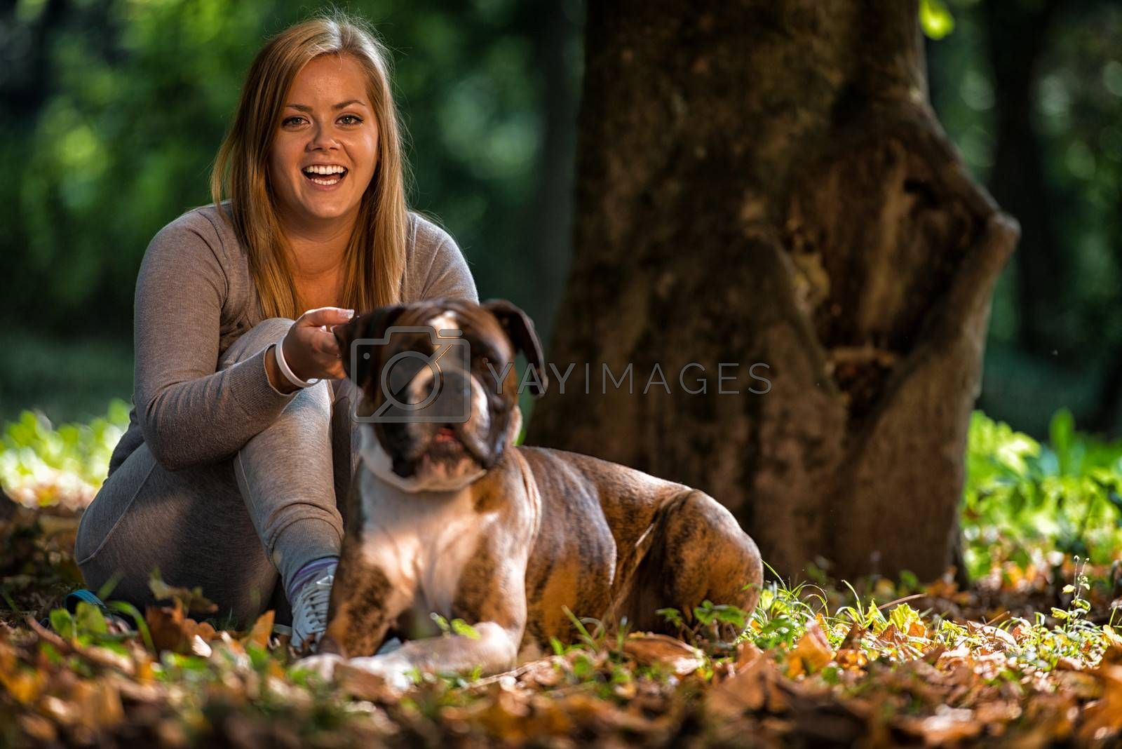 Women And Her German Boxer
