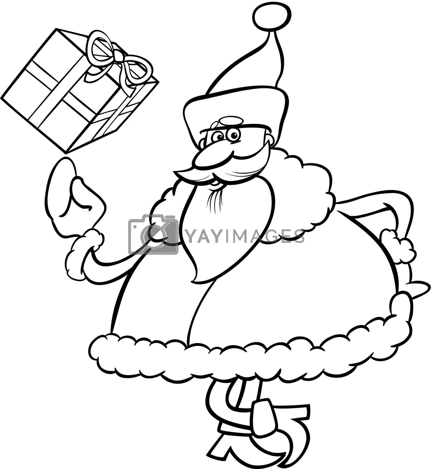 santa with gift cartoon coloring page by izakowski