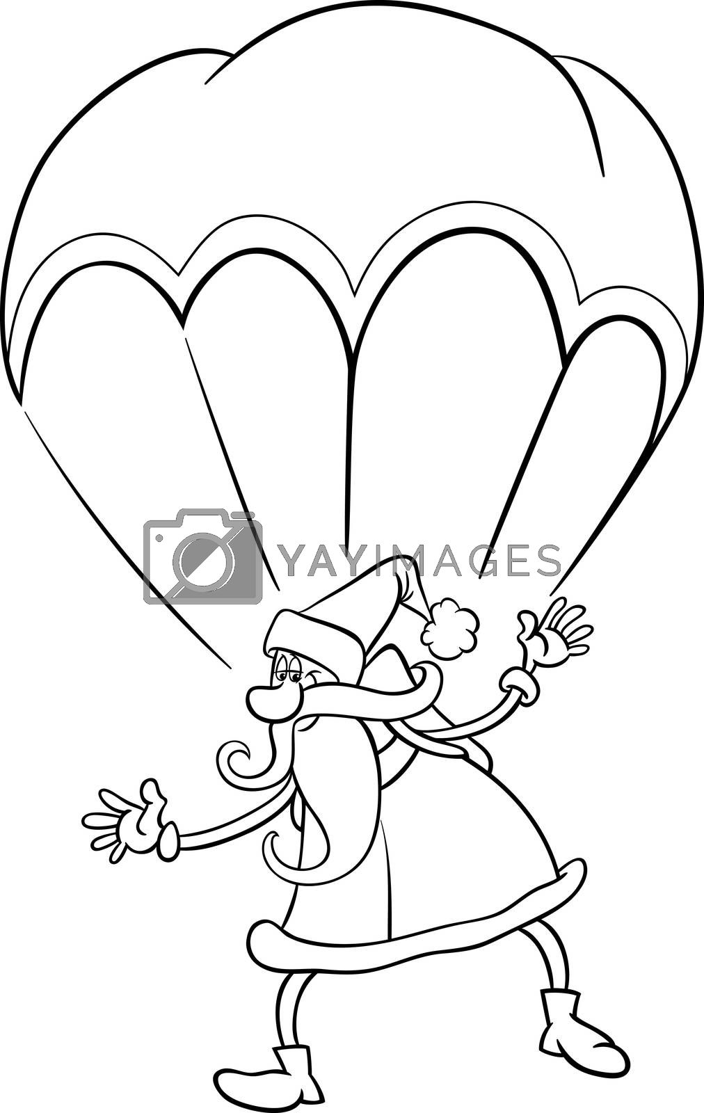 santa on parachute cartoon coloring page by izakowski