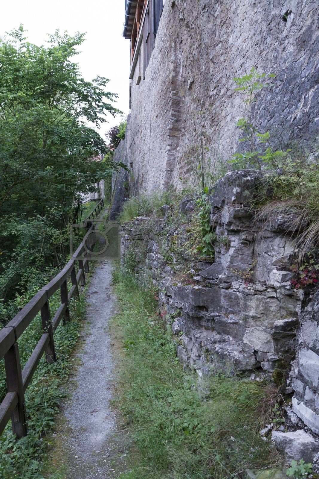 narrow foot path near the historic town of Vellberg, Germany. Steep wall at right side
