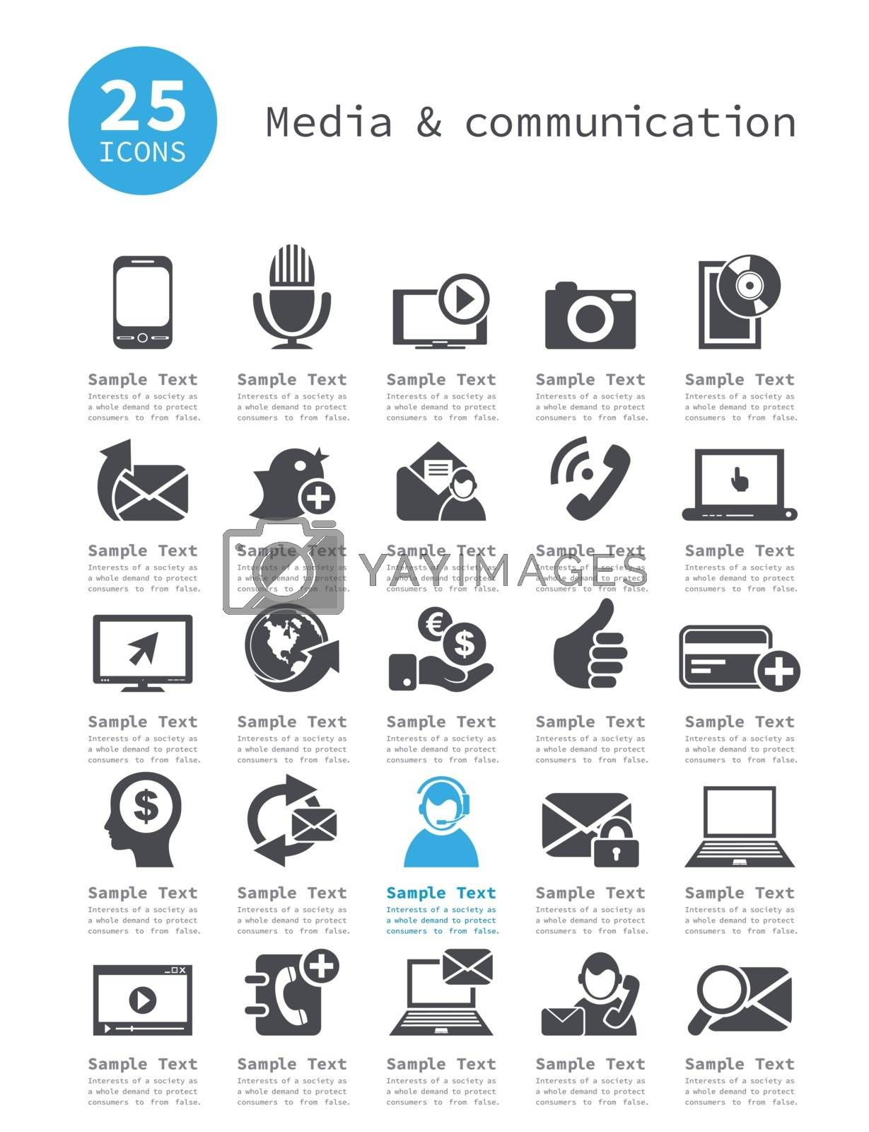 Set of icons of communication. A vector illustration