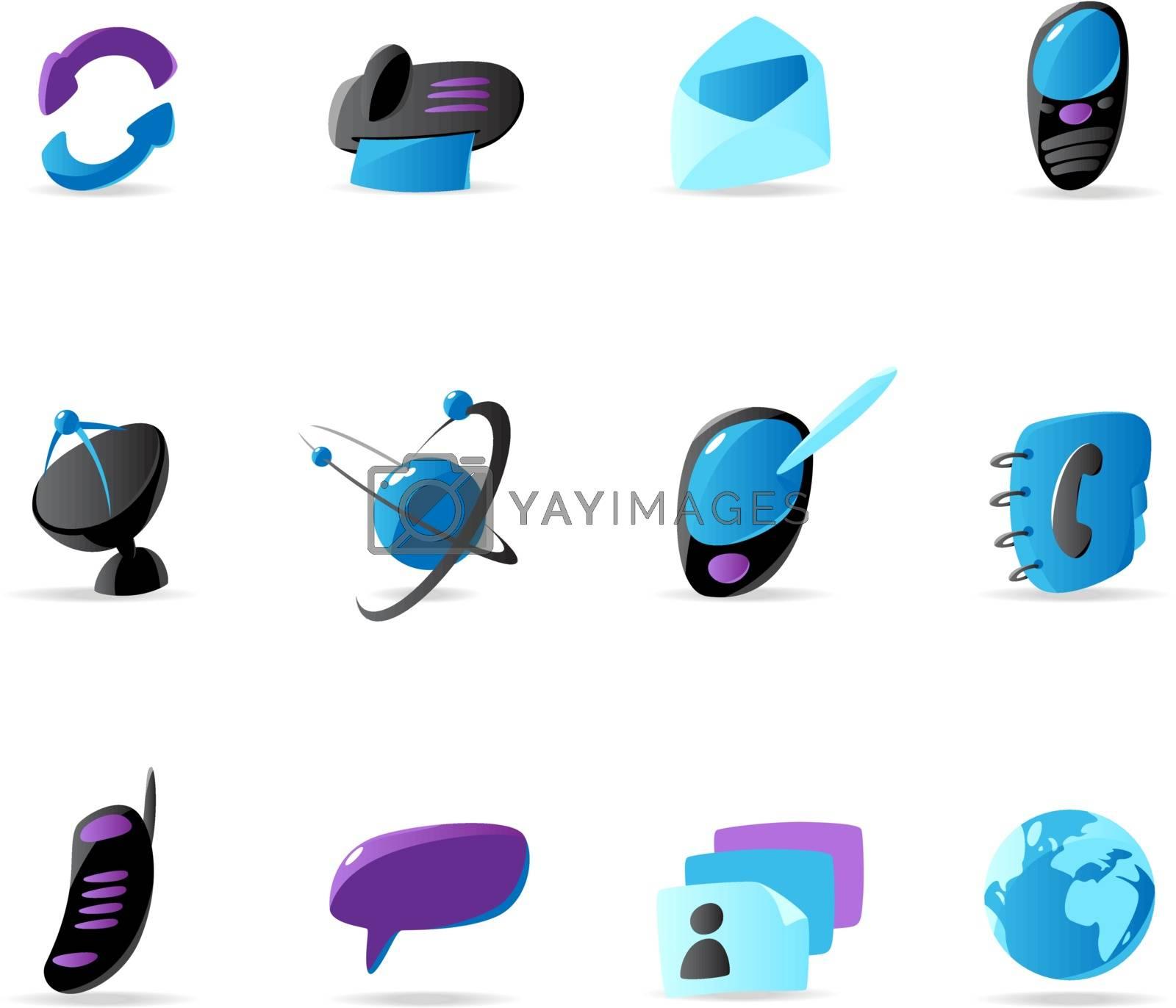 Bright communication icons. Vector illustration