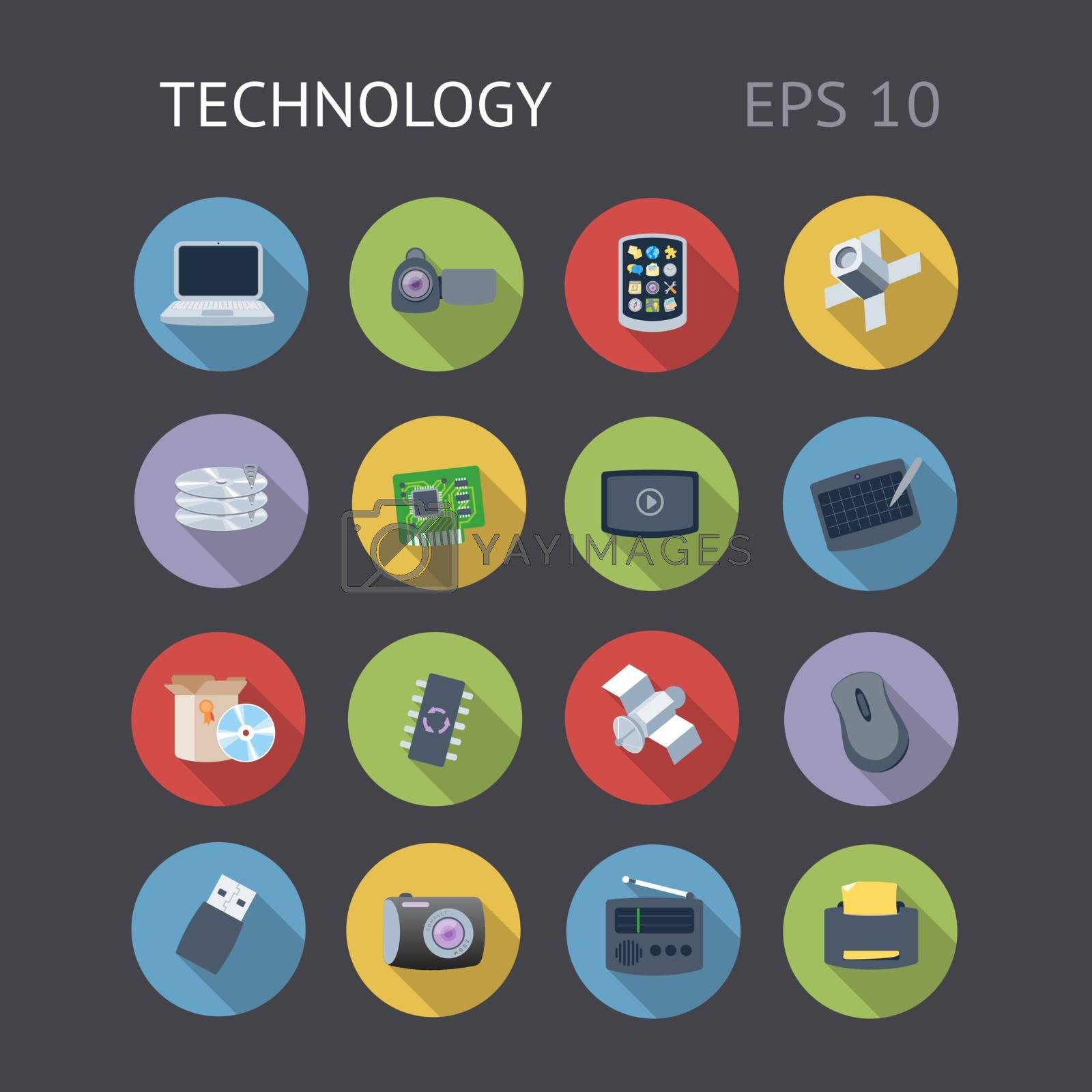 Flat icons for technology. Vector eps10 contains objects with transparency.