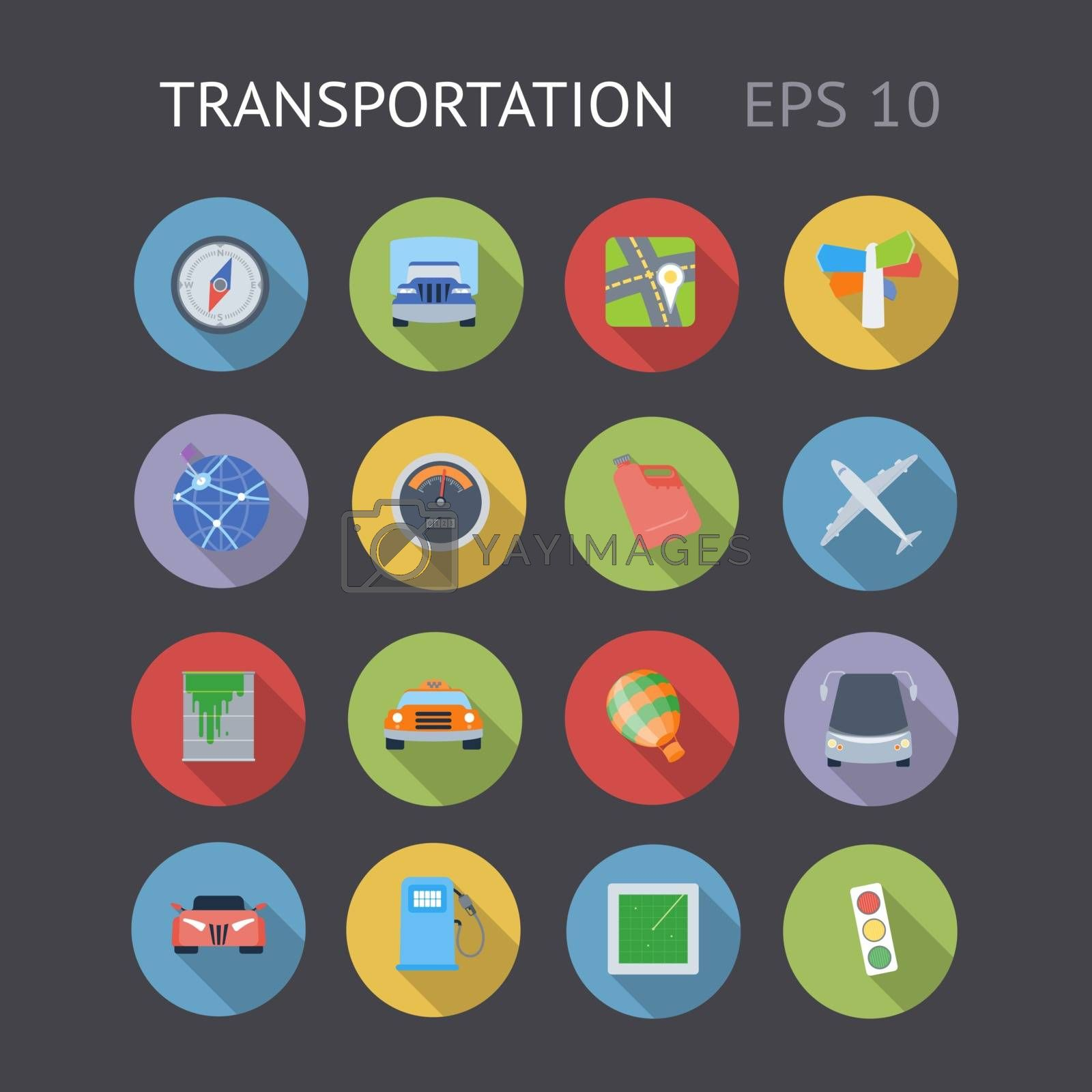 Flat icons for transportation. Vector eps10 contains objects with transparency.