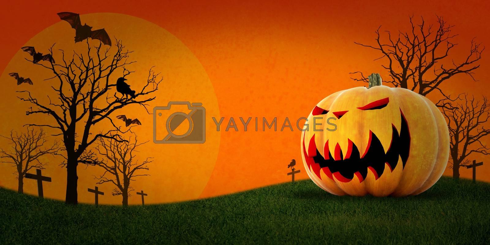 Halloween and pumpkin with orange background