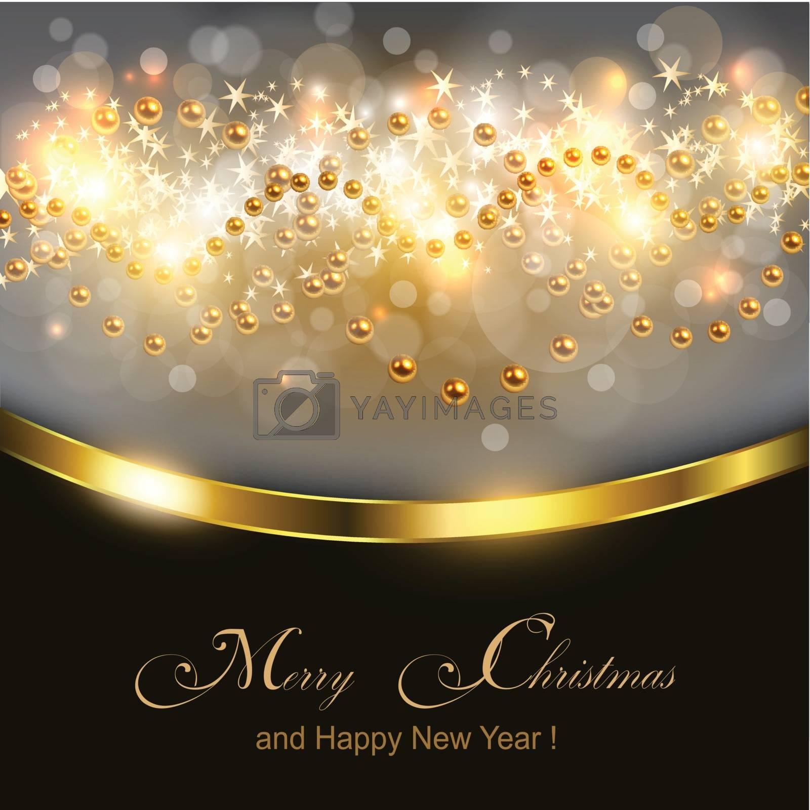 Christmas background gold lights, vector illustration