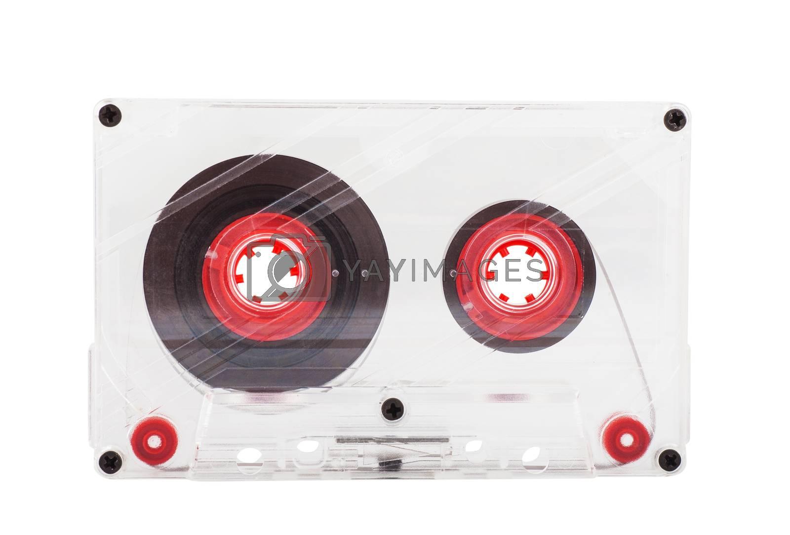 Single audio cassette over white background