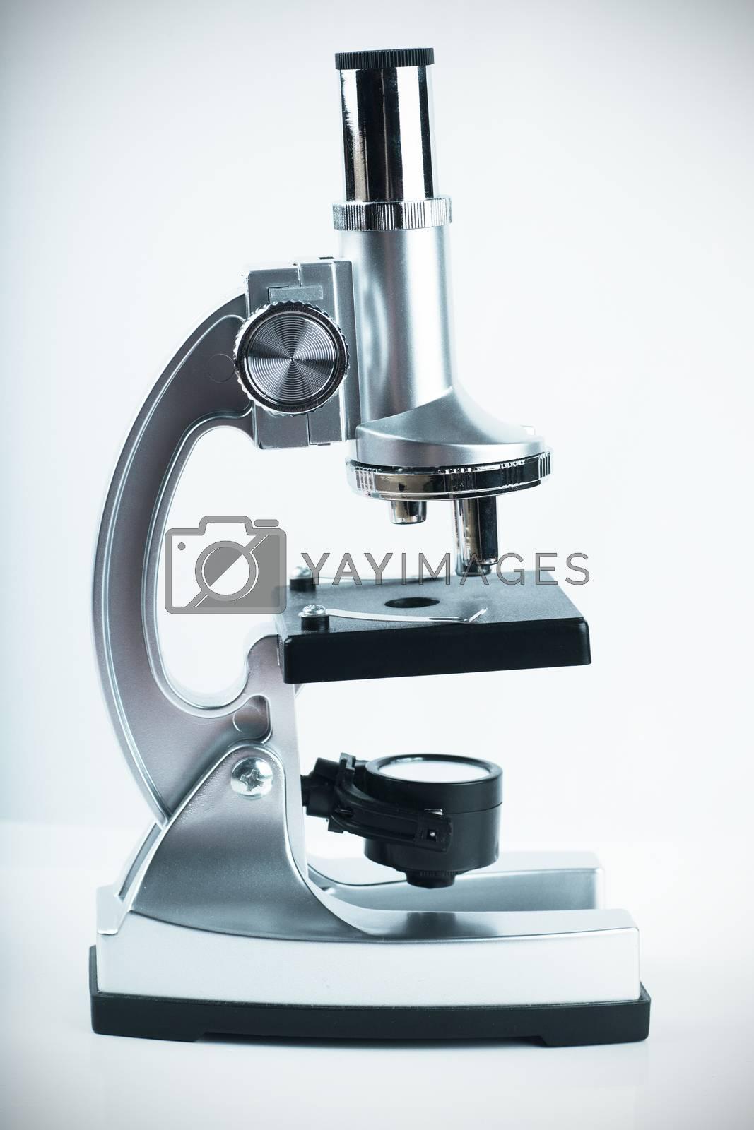 Closeup view of single microscope