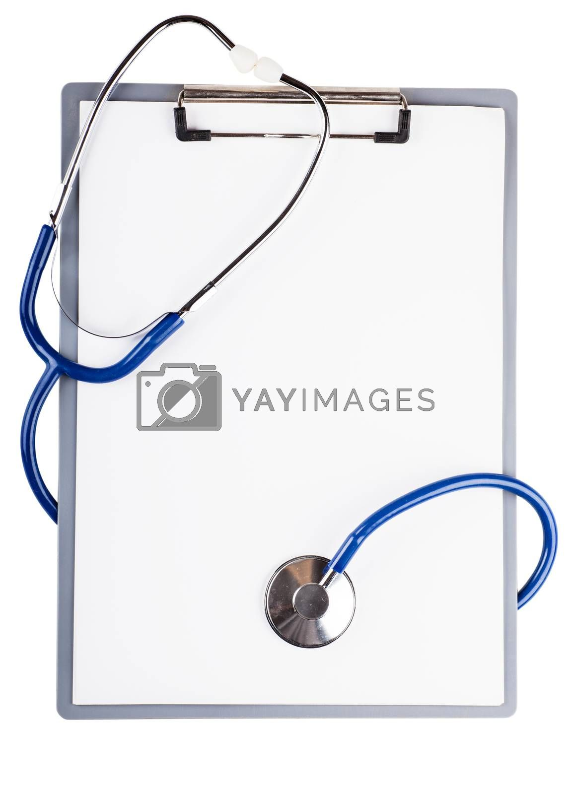 Blank sheet and stethoscope over white background