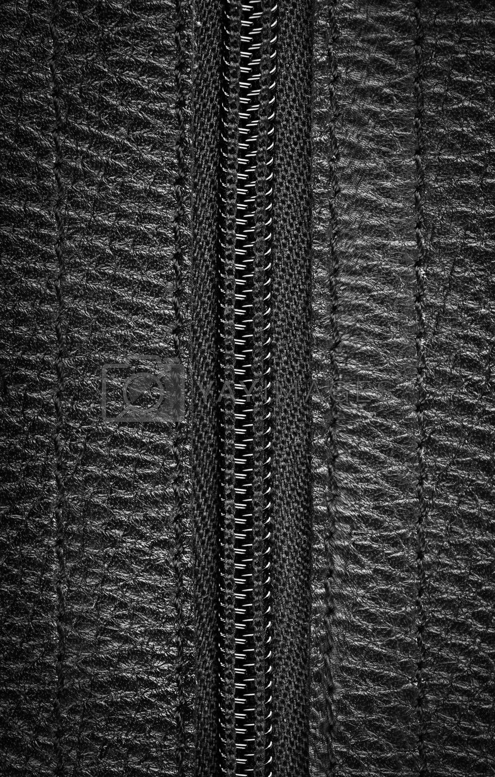 Close-up view of a closed zipper on a black leather bag