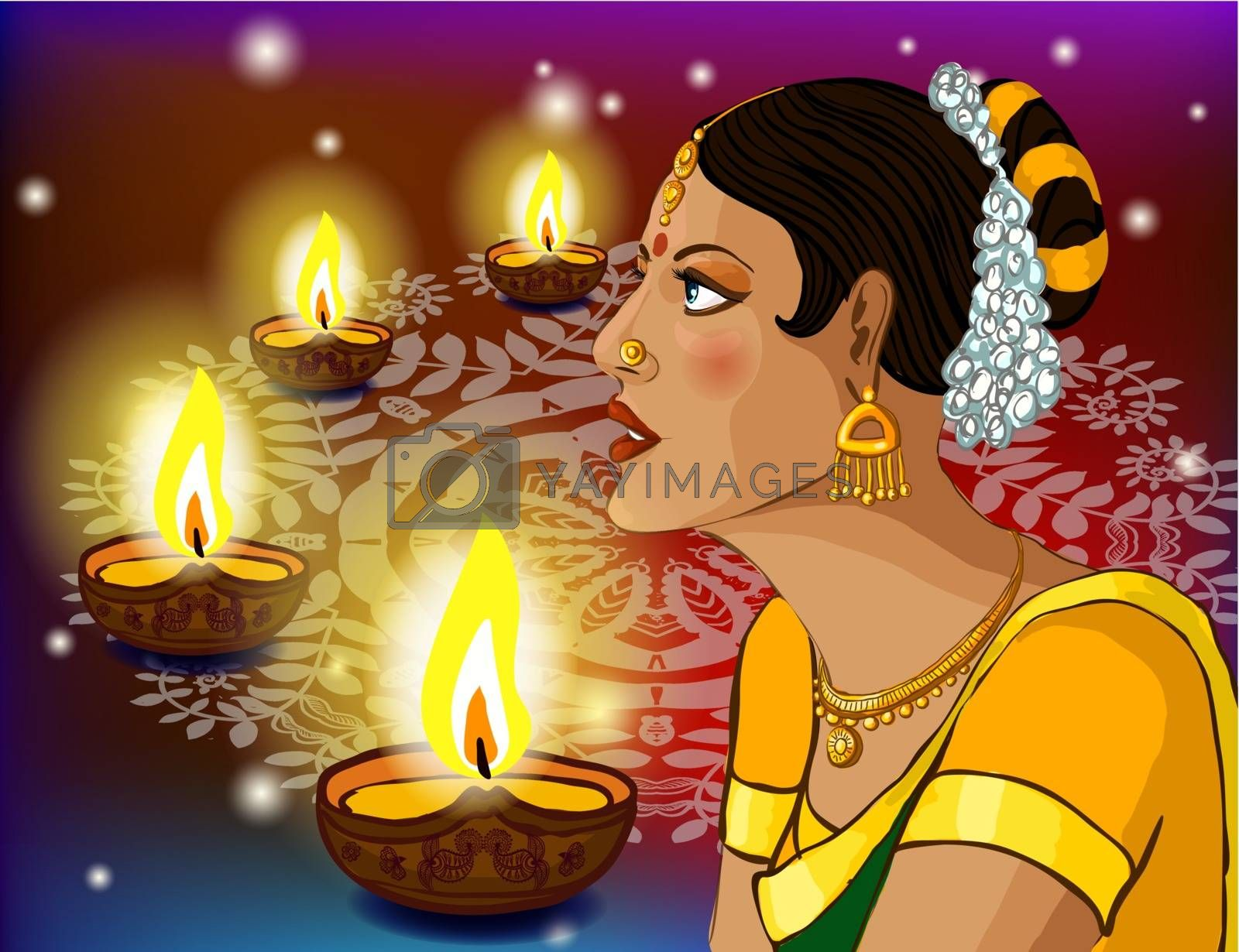 Vector portrait of a beautiful Indian woman in sari with festive diwali lights background