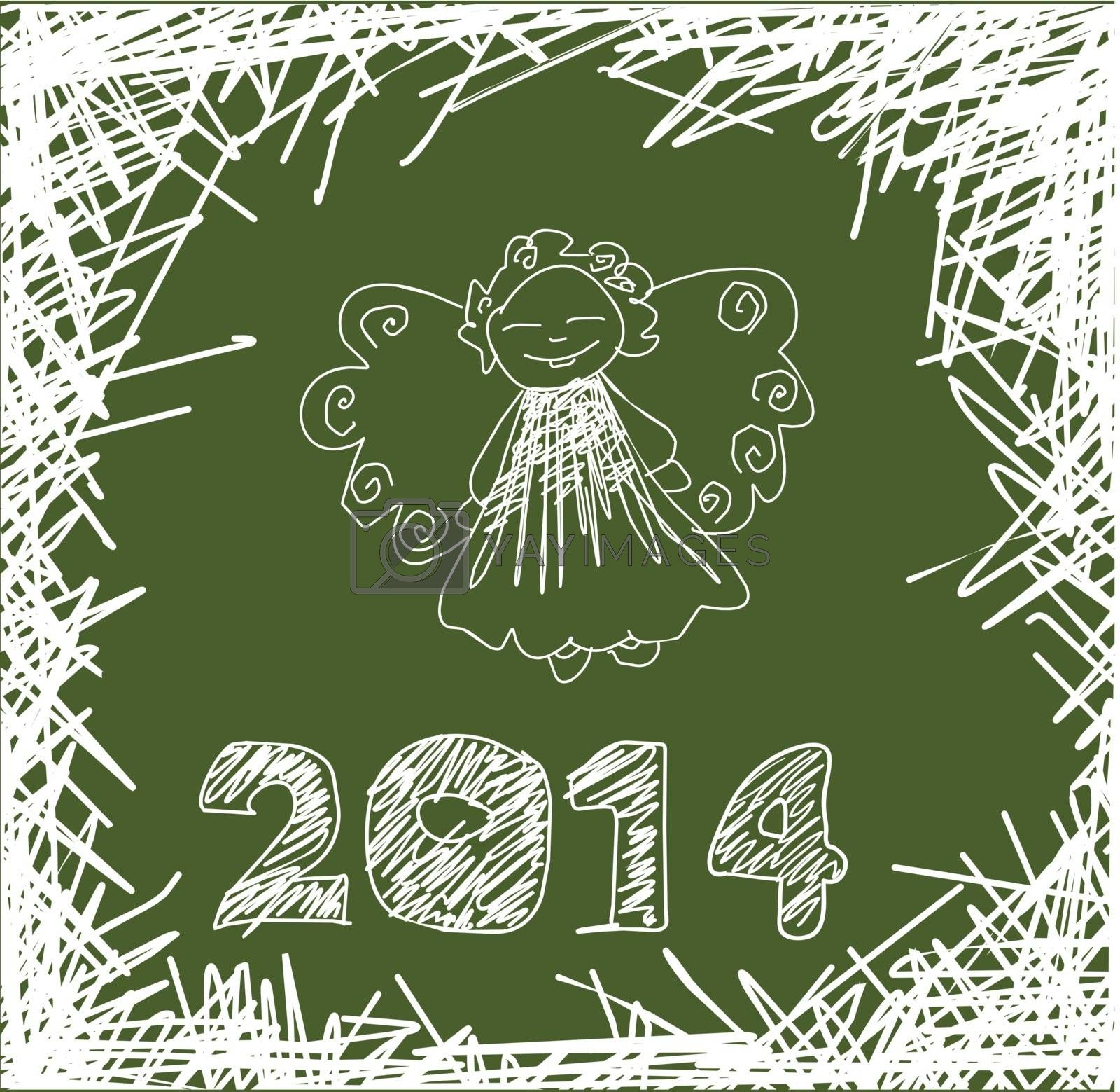 Vector Christmas and New Year decorations, hand-painted