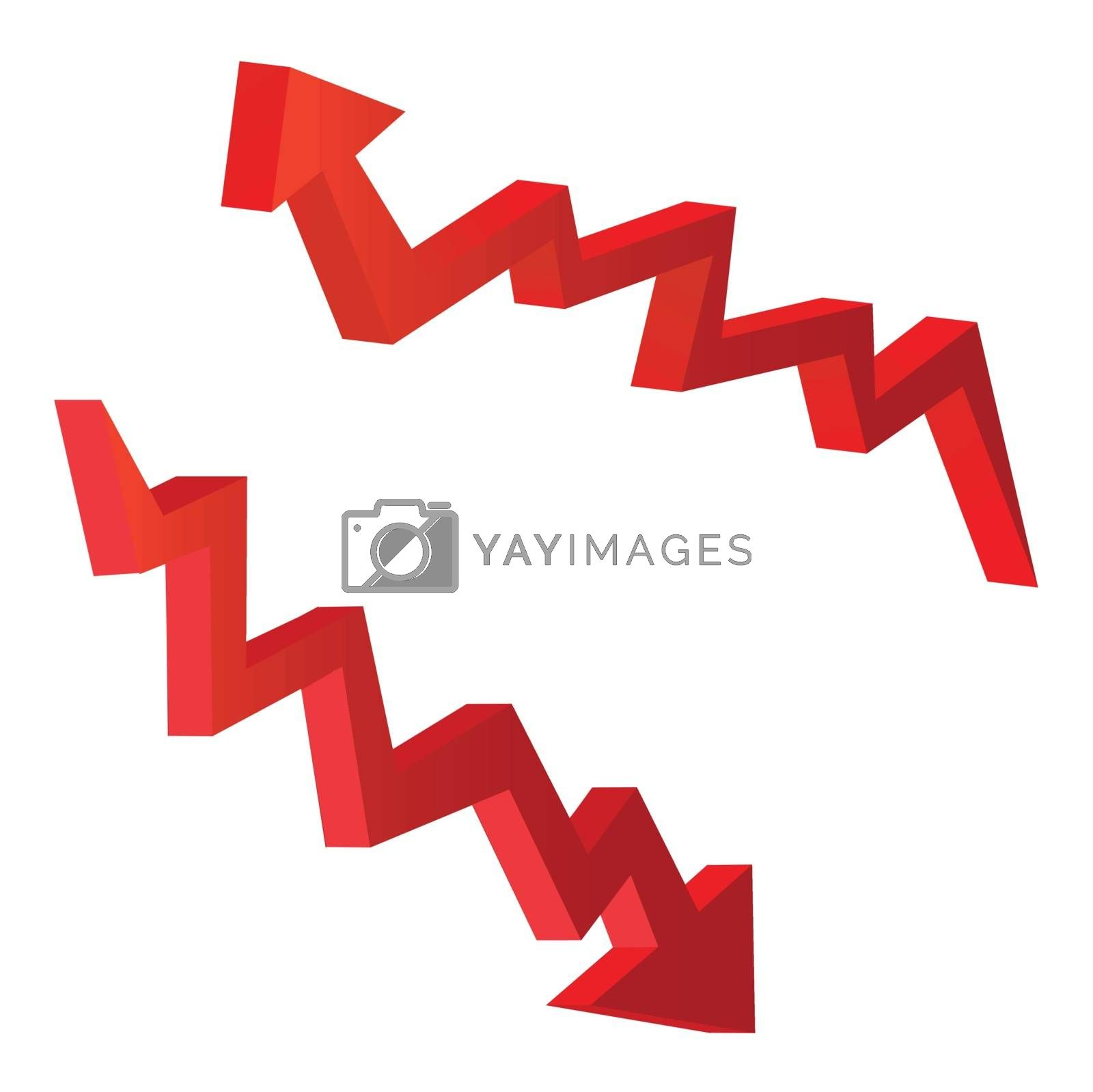 red arrow vector illustrations in 3d form, for economic concepts.