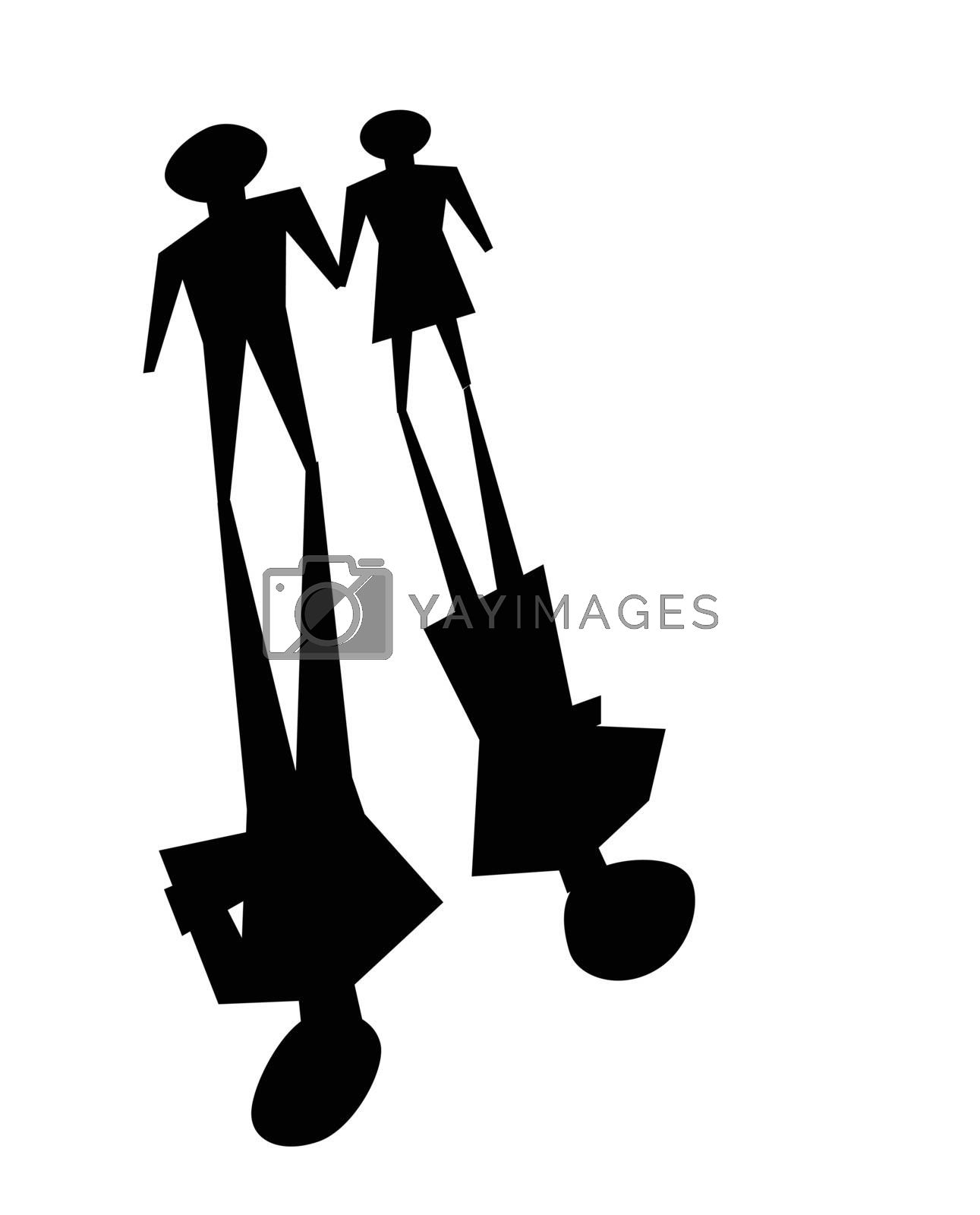 illustrations of broken relationship, couple shadow was ignoring each other.