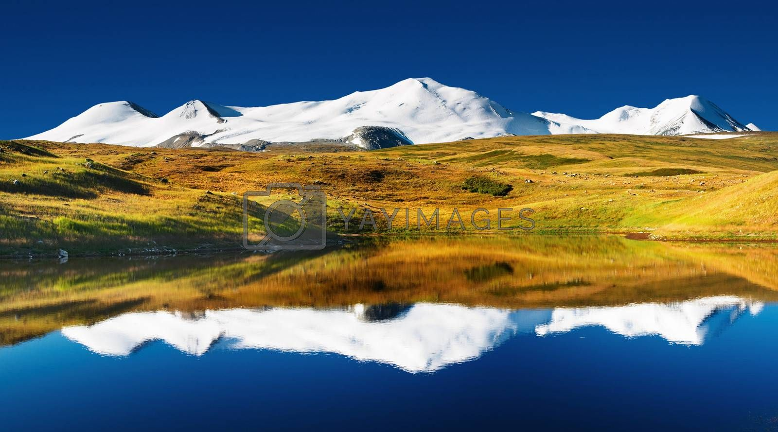 Landscape with lake and snowy mountains